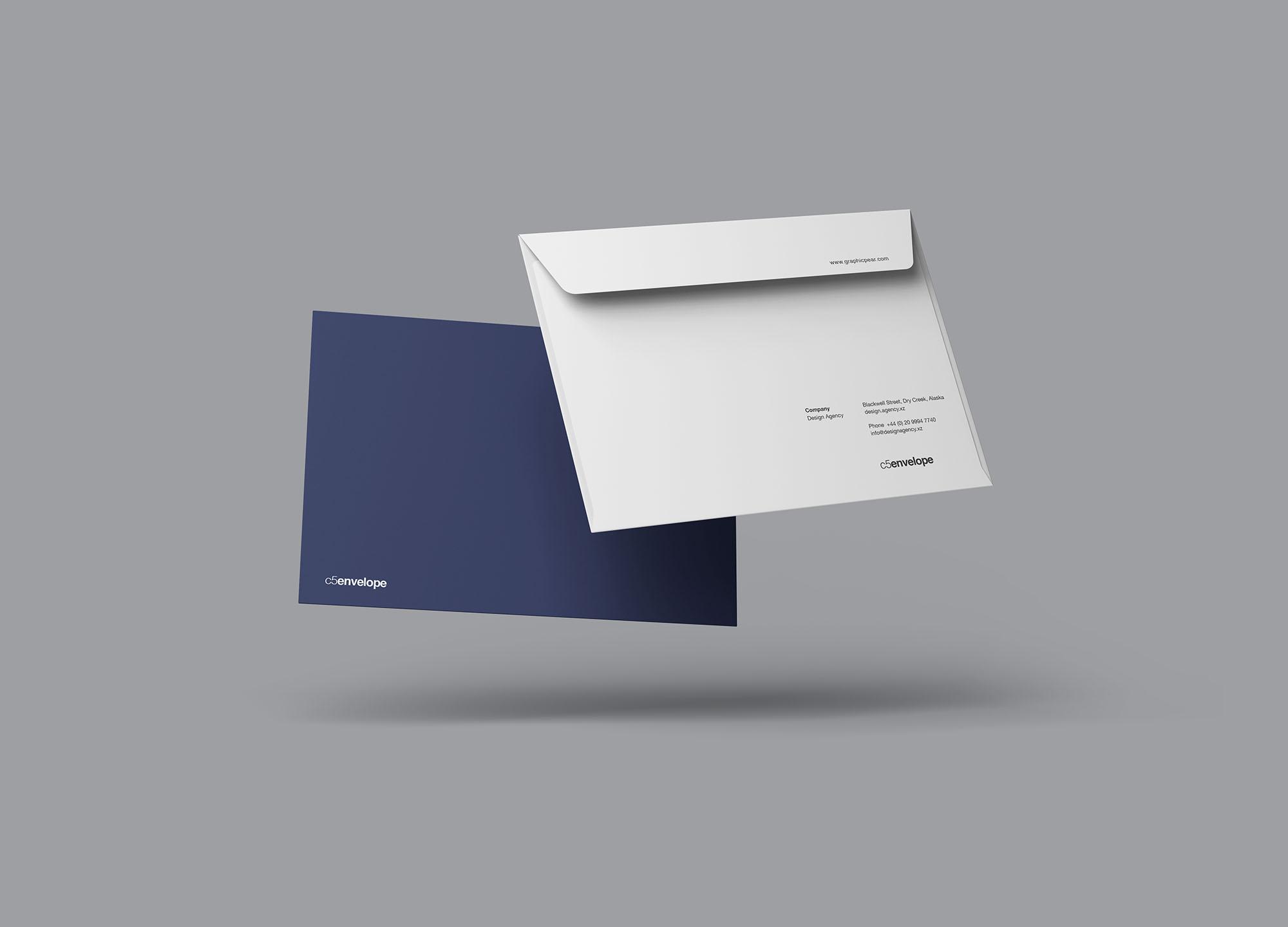 Floating C4 Envelope Mockup