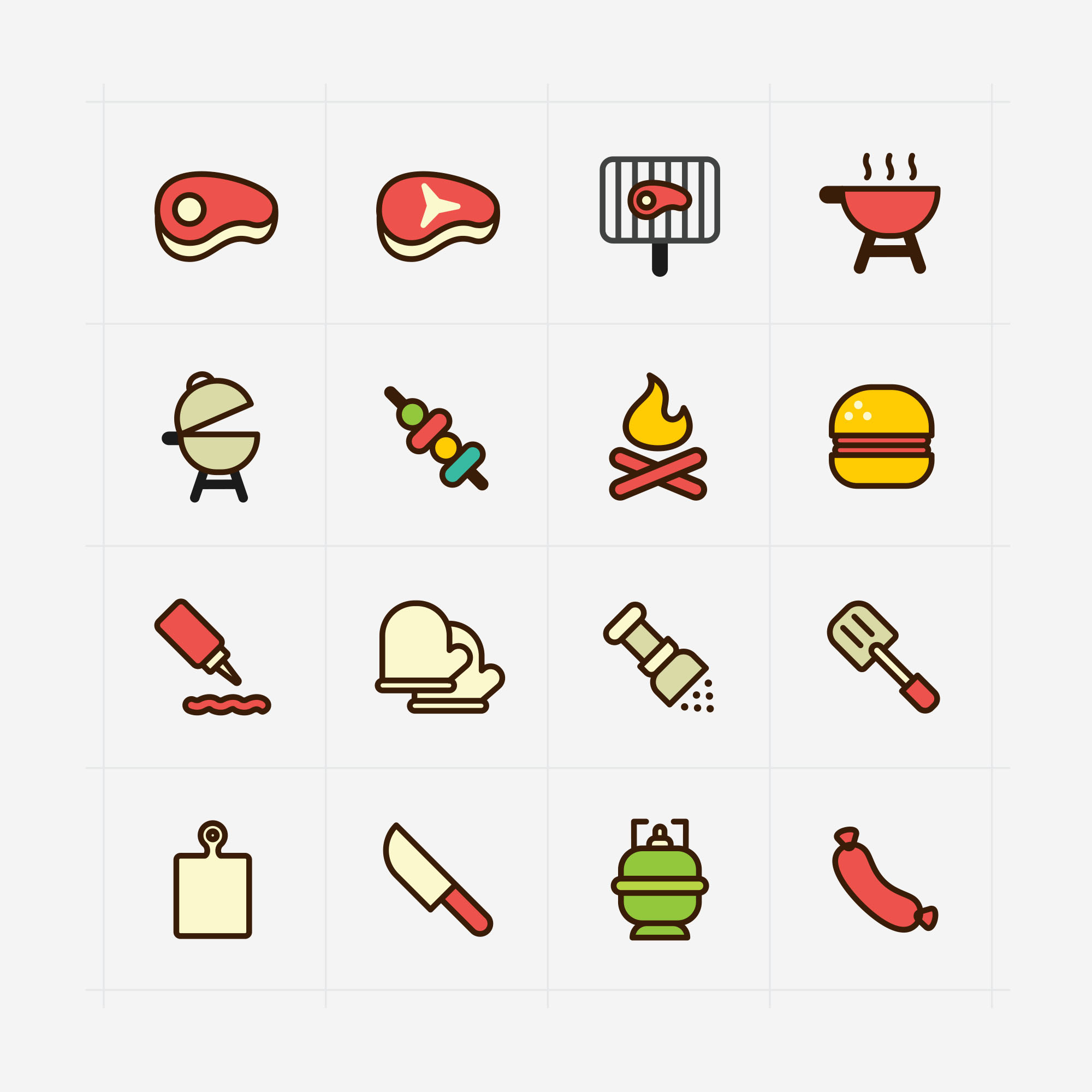 Colored Barbecue Icons