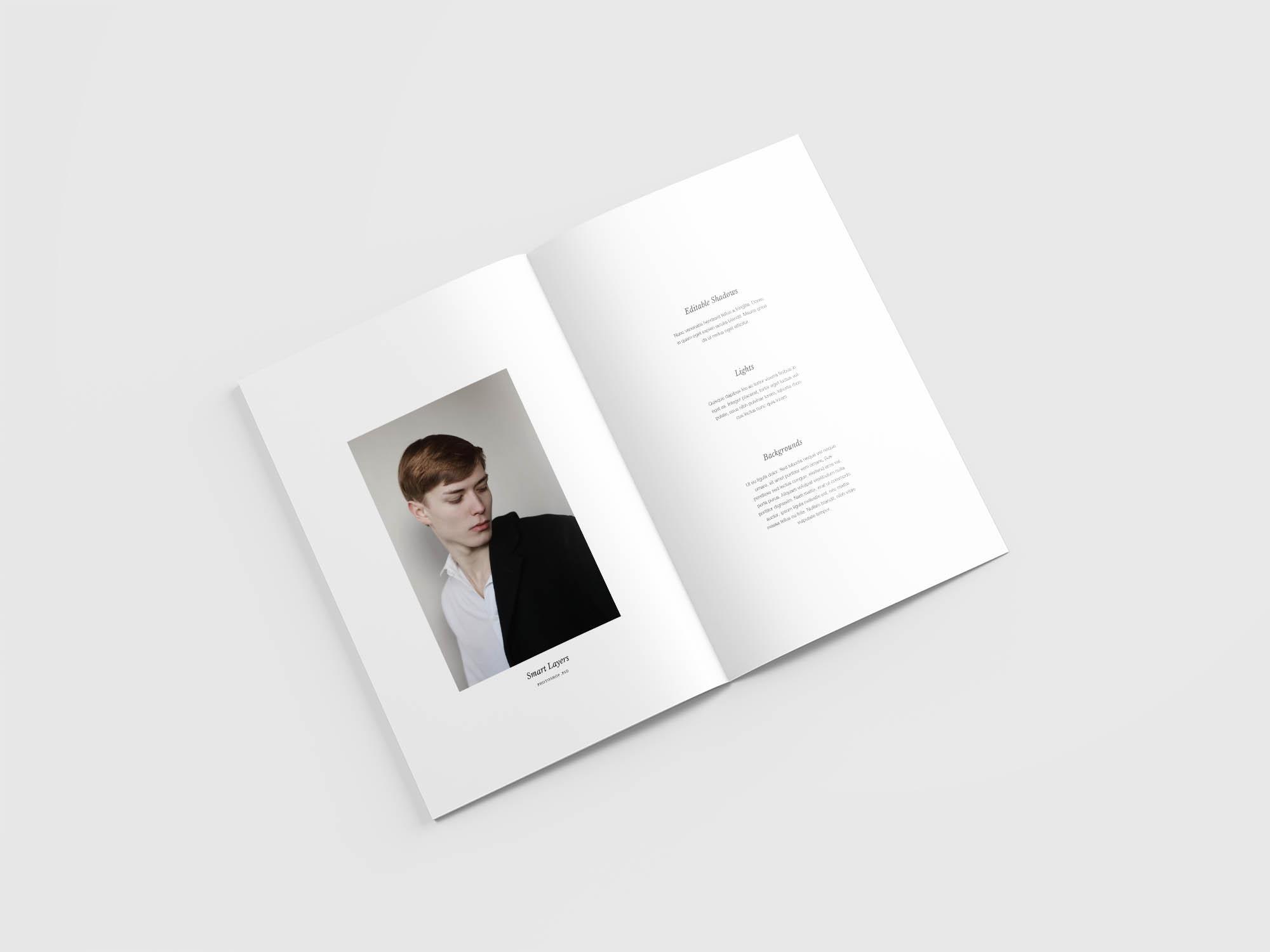 Minimal Magazine Mockup Opened 2