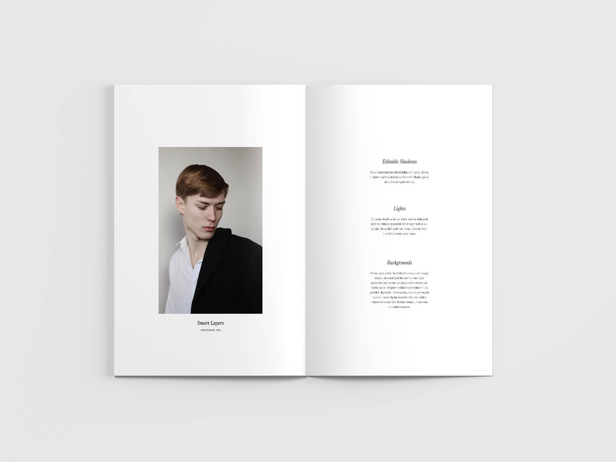 Minimal Magazine Mockup Opened