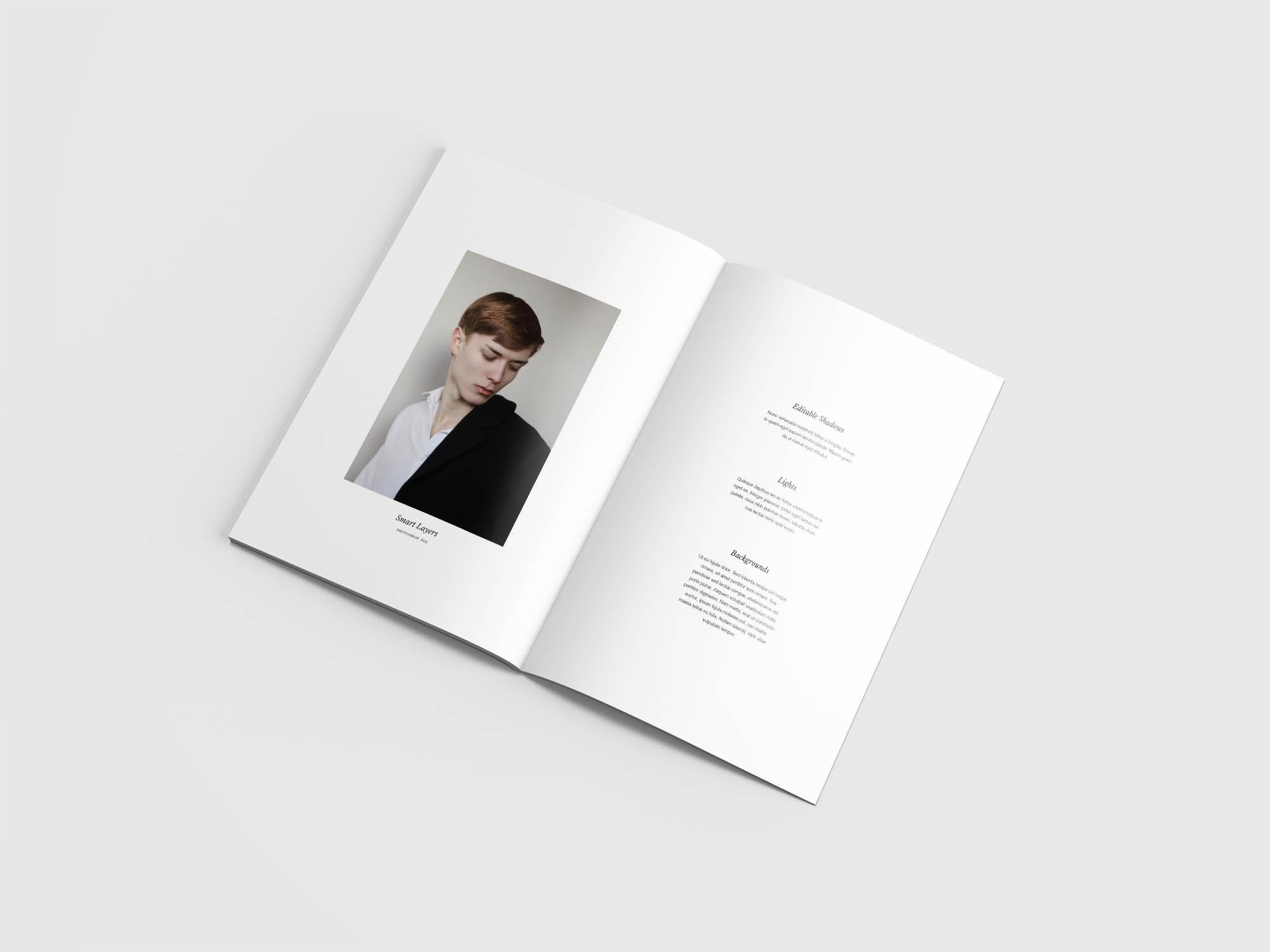 Minimal Magazine Mockup Opened 1