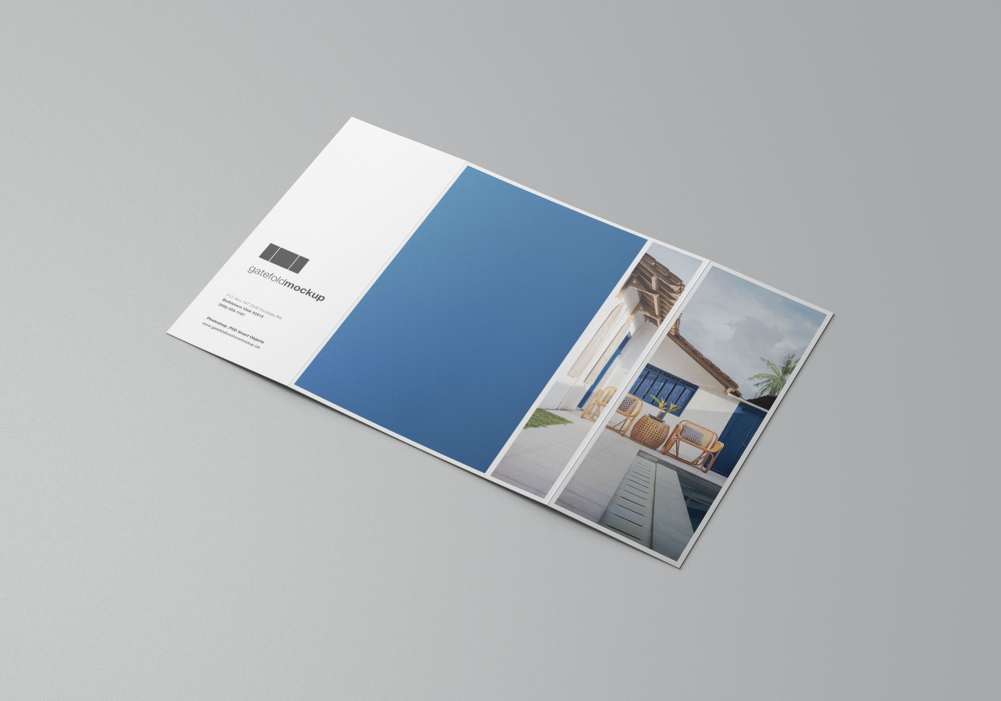 Single Gatefold Brochure Mockup 3