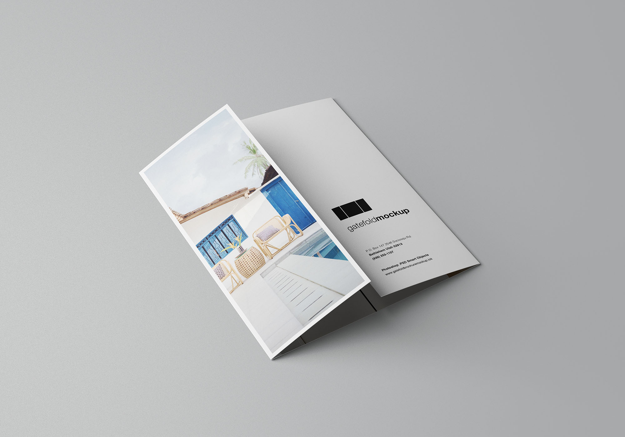 Single Gatefold Brochure Mockup 5