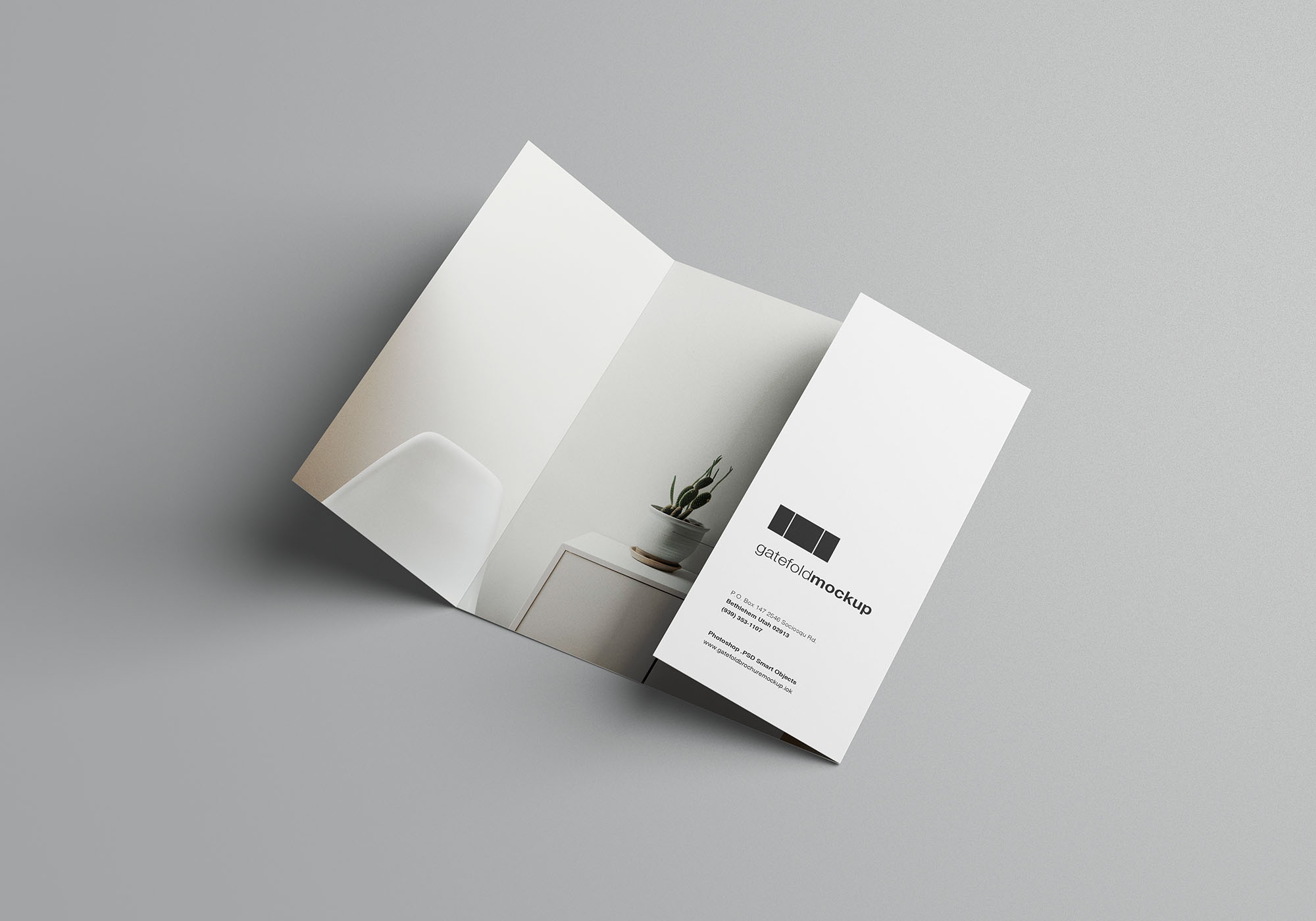Single Gatefold Brochure Mockup 6