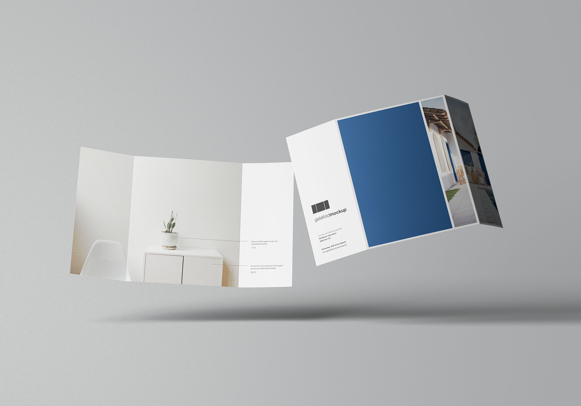 Single Gatefold Brochure Mockup 7