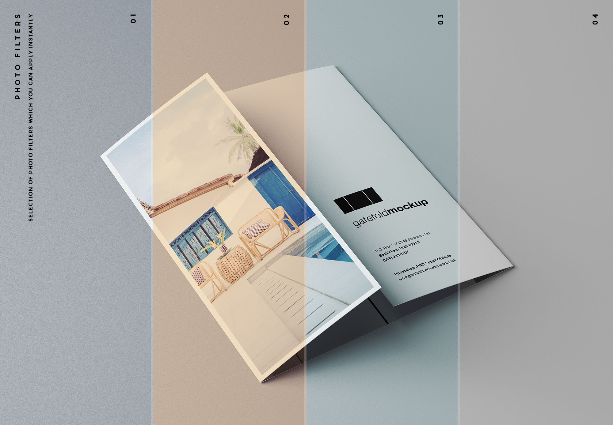 Single Gatefold Brochure Mockup