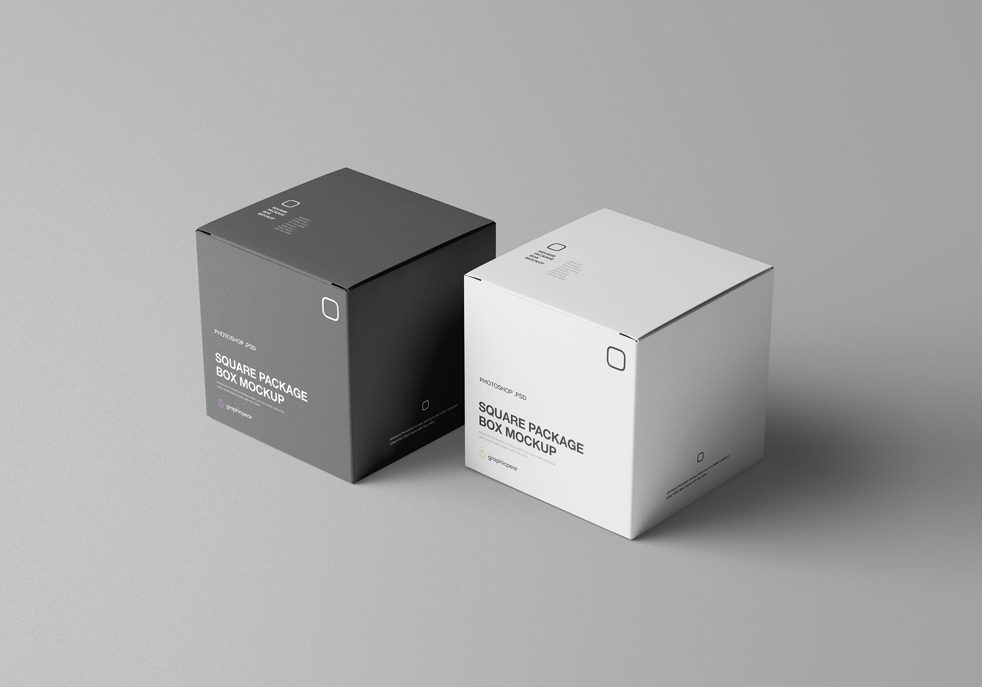 Square Package Box Mockup 3
