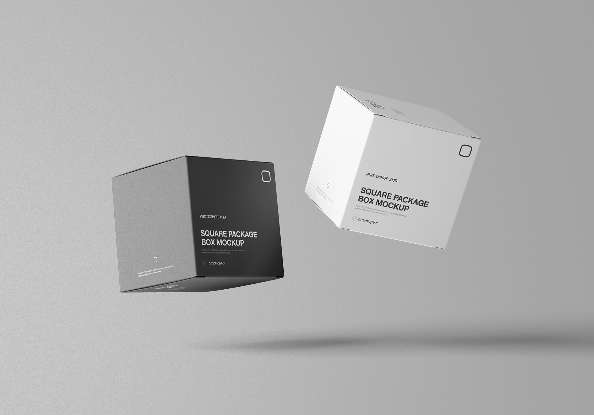 Square Package Box Mockup 7