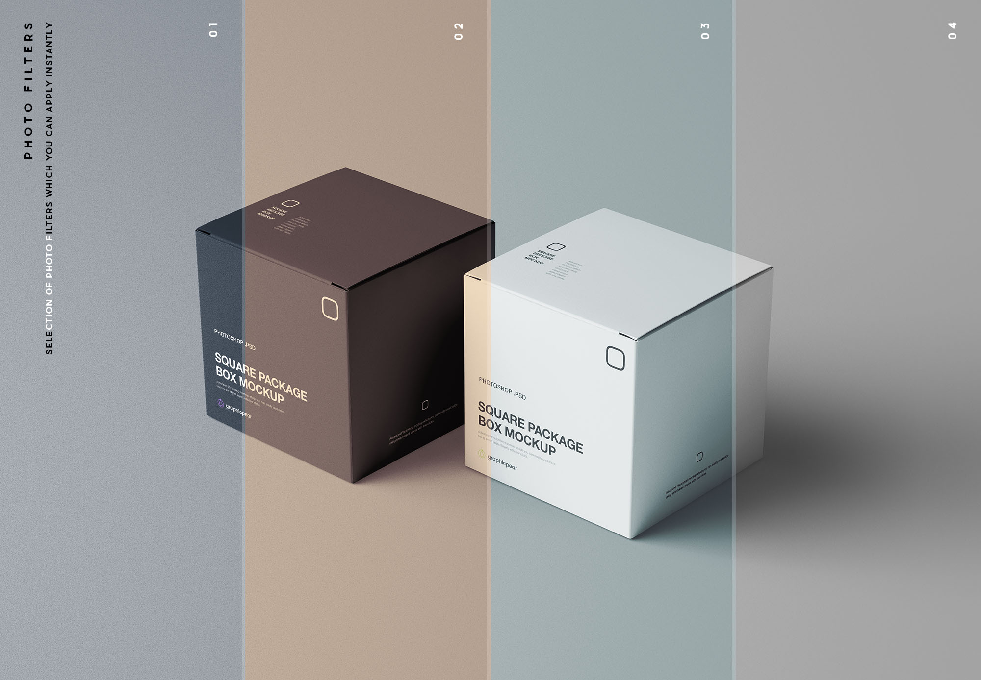 Square Package Box Mockup Filters