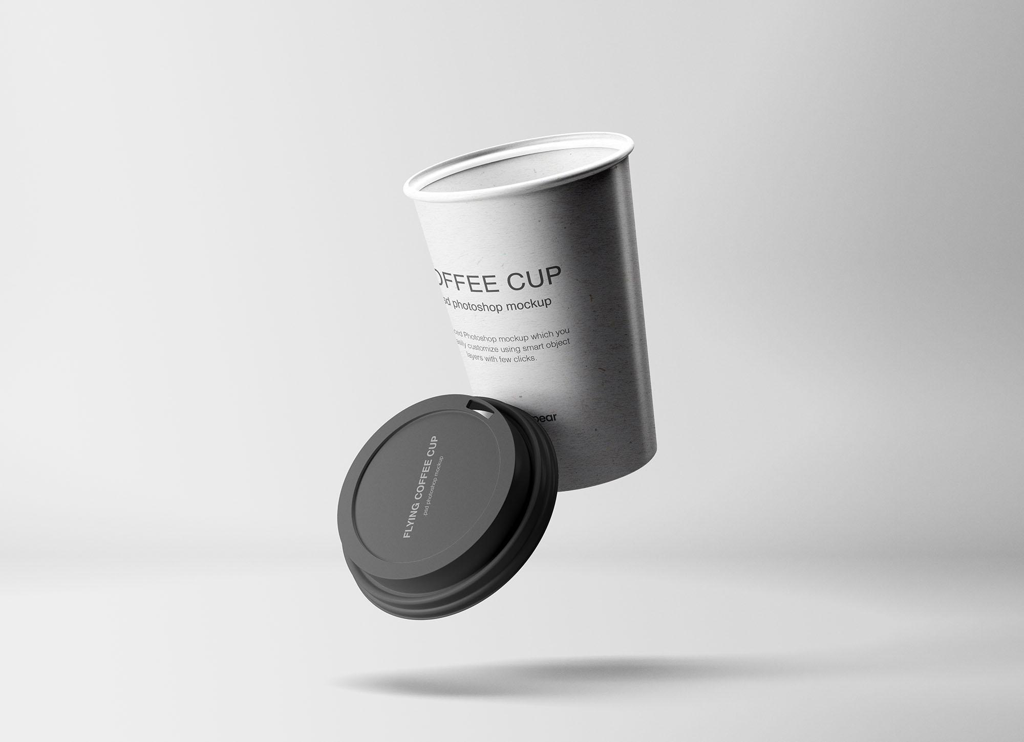 Flying Coffee Cup Mockup 2