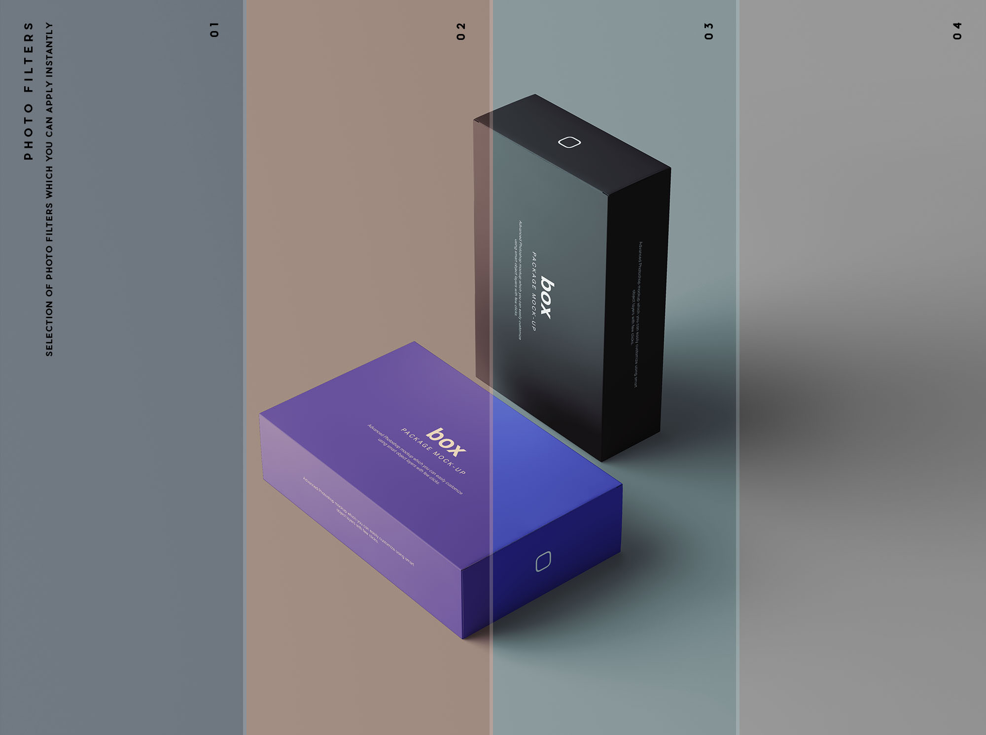 Box Packaging Mockup Filters