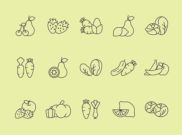 Fruit and Vegetables Vector Icons - Part 02