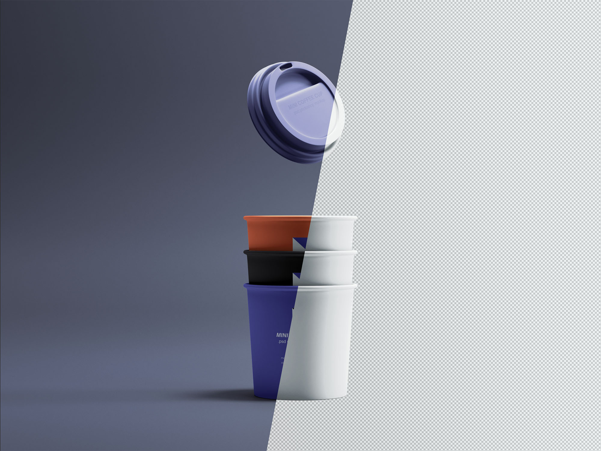 Mini Coffee Cups Mockup PSD