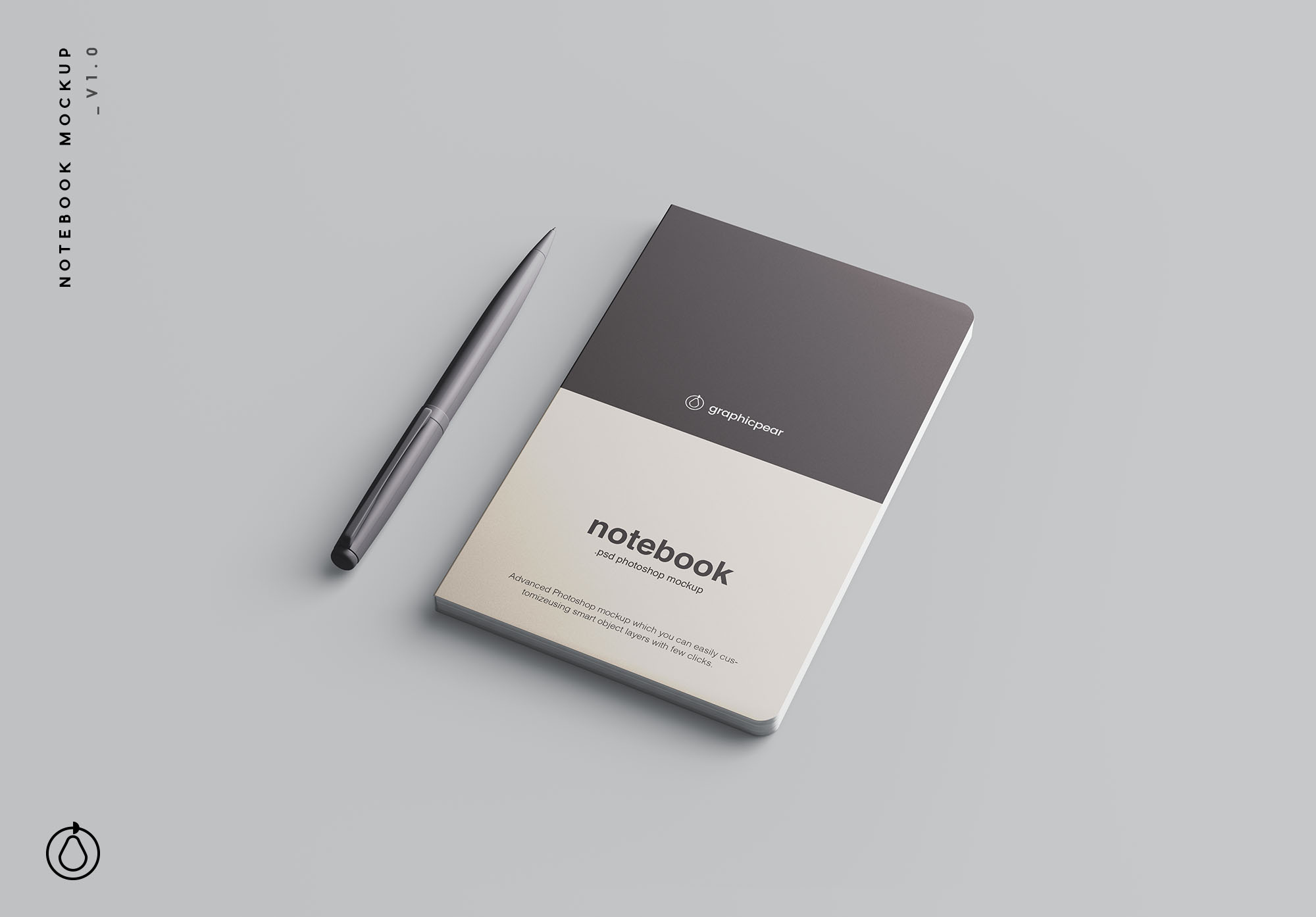 Notebook Mockup with Pen