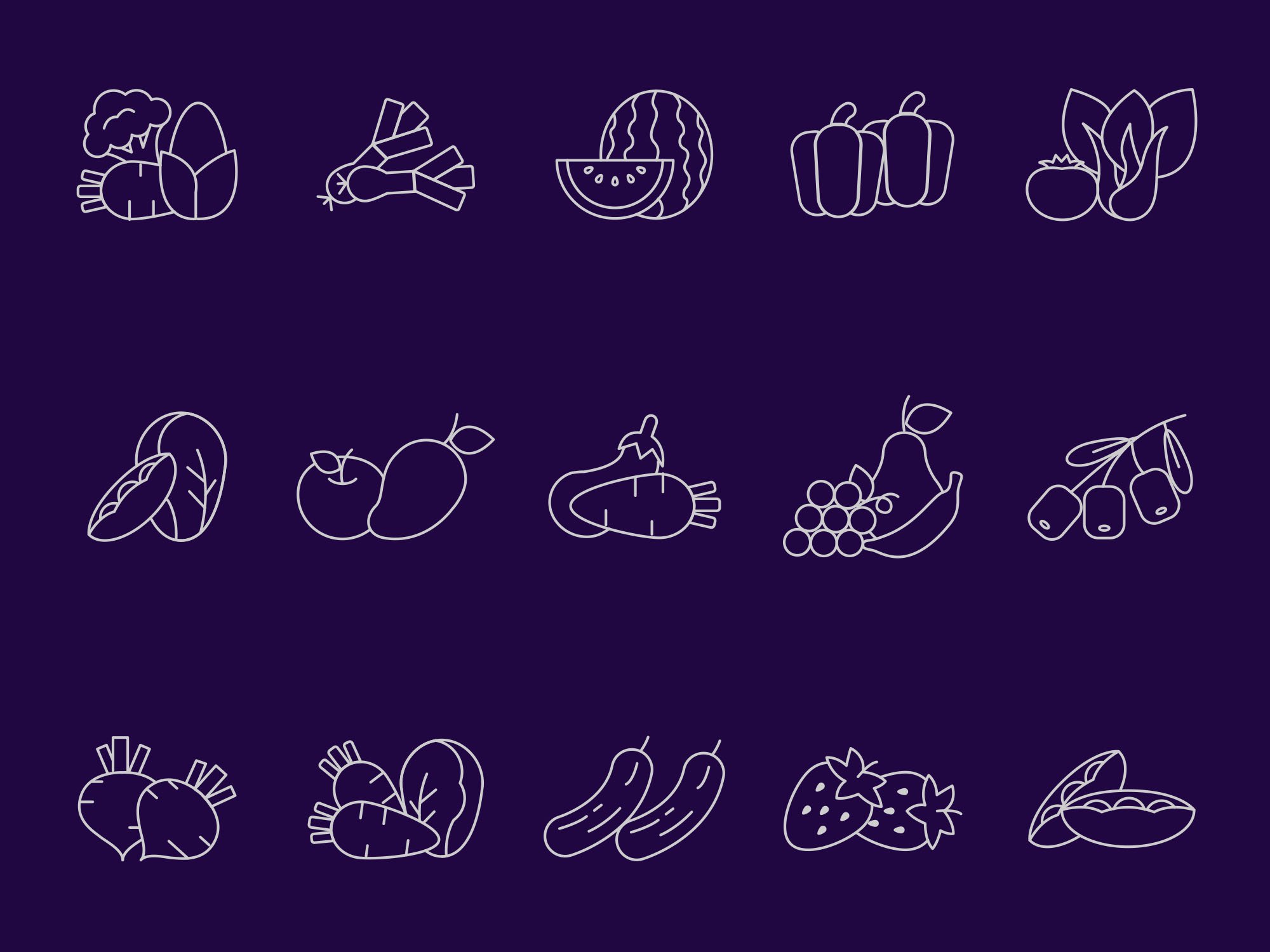 Vegetables and Fruites Vector Icons