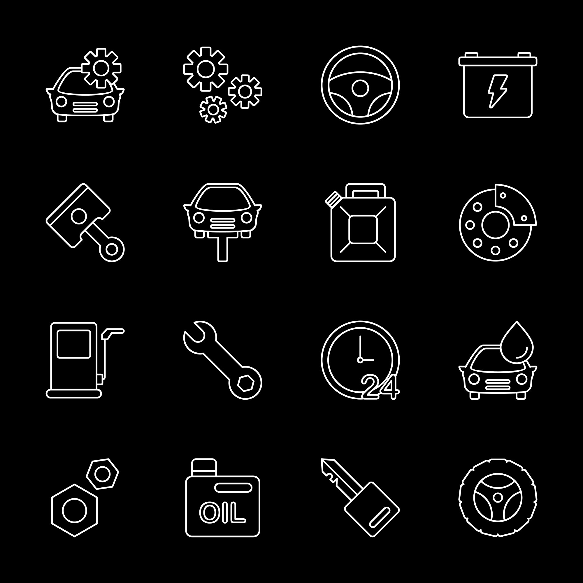 Black Car Service Icons