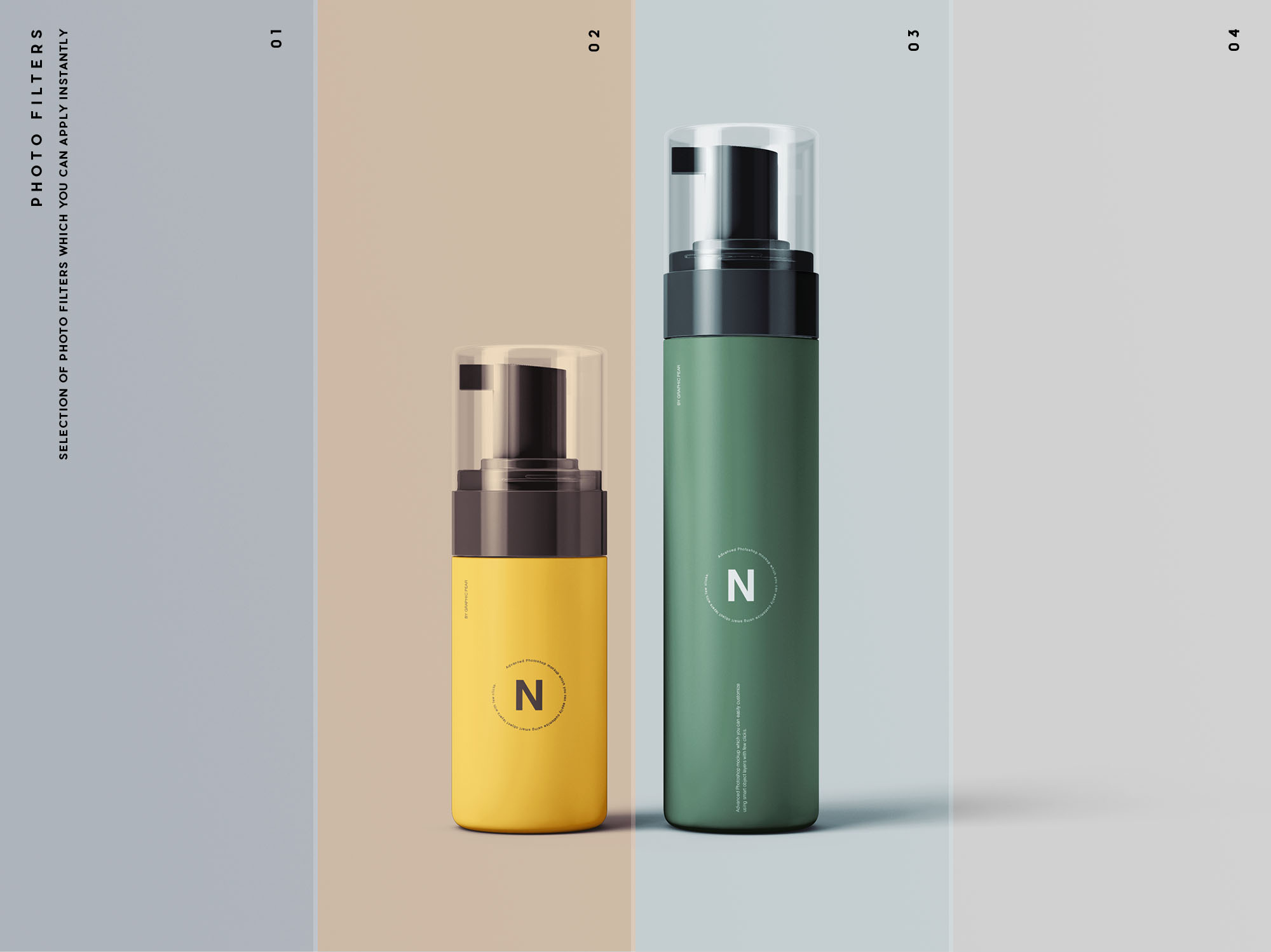 Cosmetic Bottle Packaging Mockup - Filters