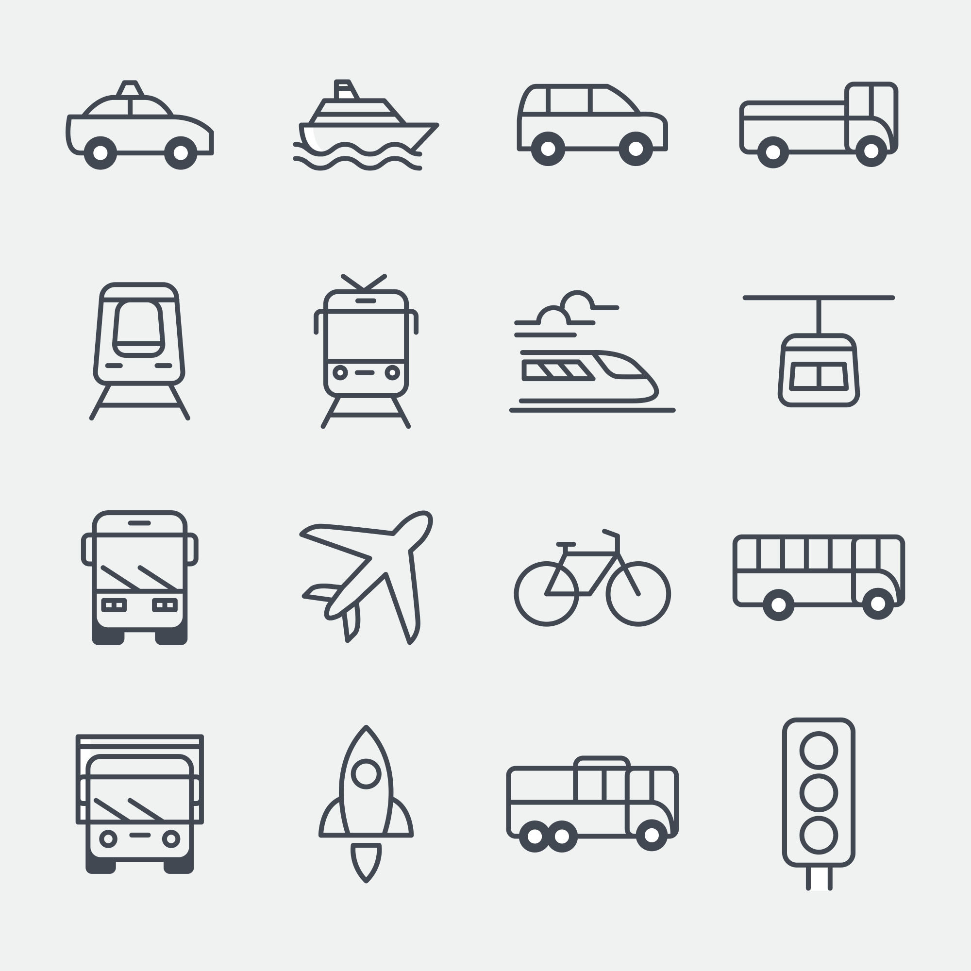 Transportation Vector Icons - Black & White