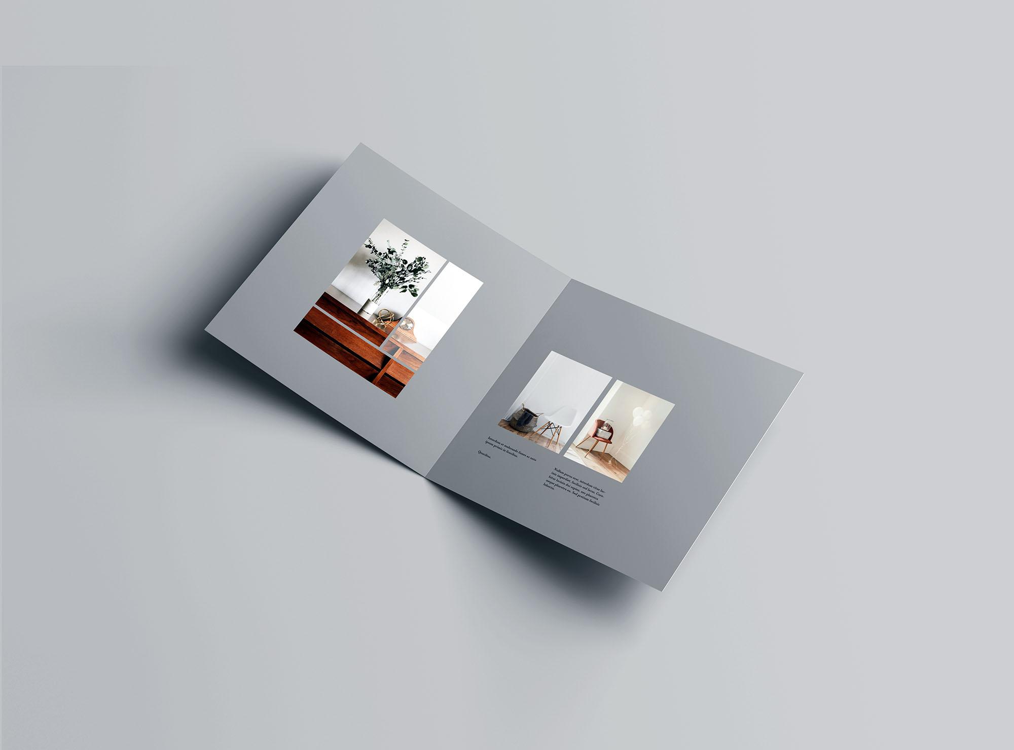 Square Bifold Brochure Mockup 2