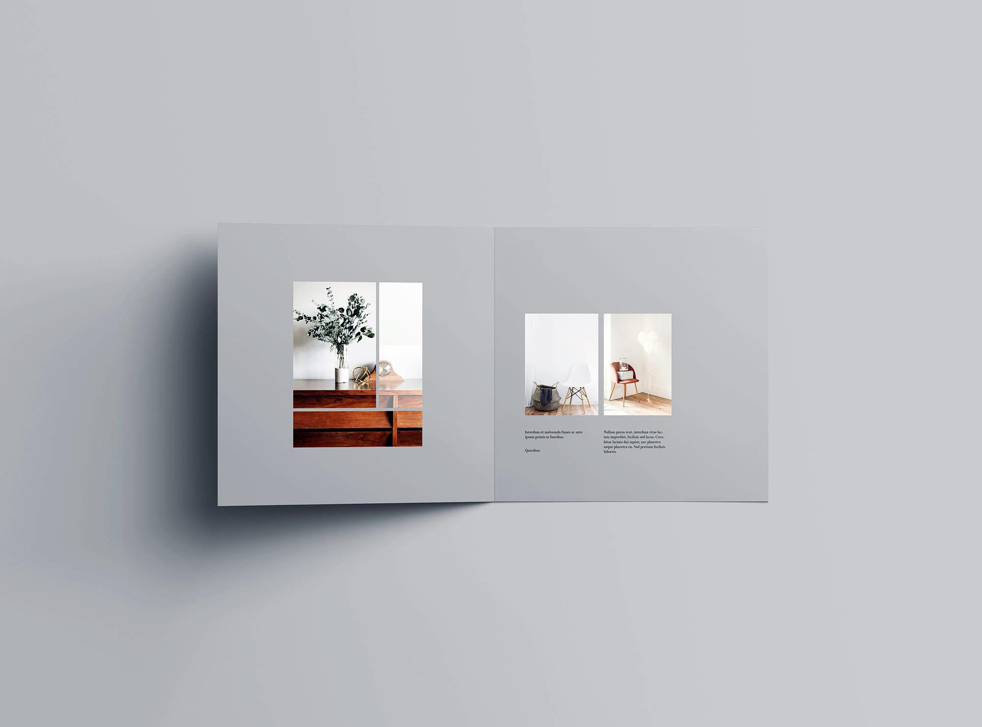 Square Bifold Brochure Mockup 3