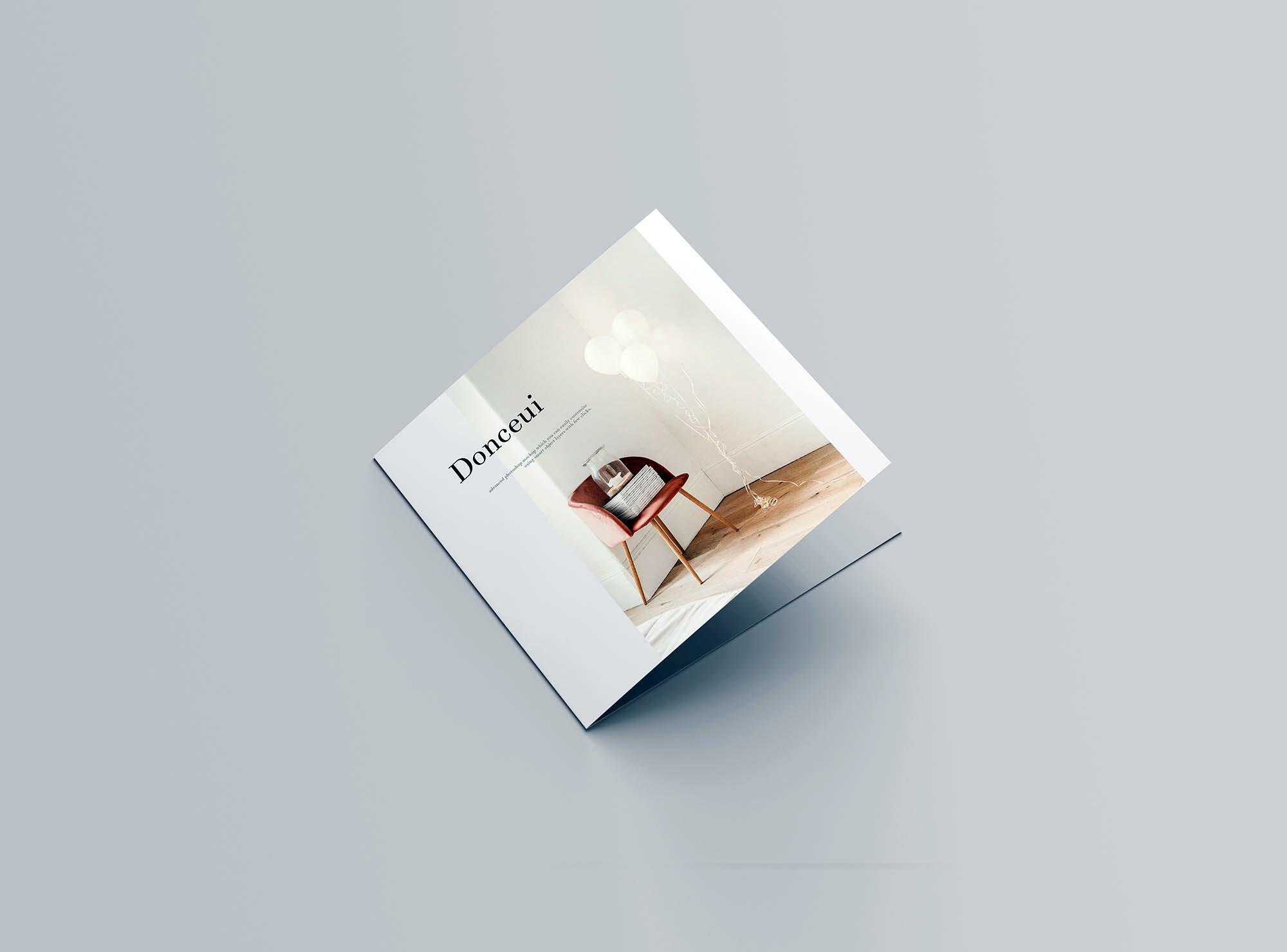 Square Bifold Brochure Mockup 4