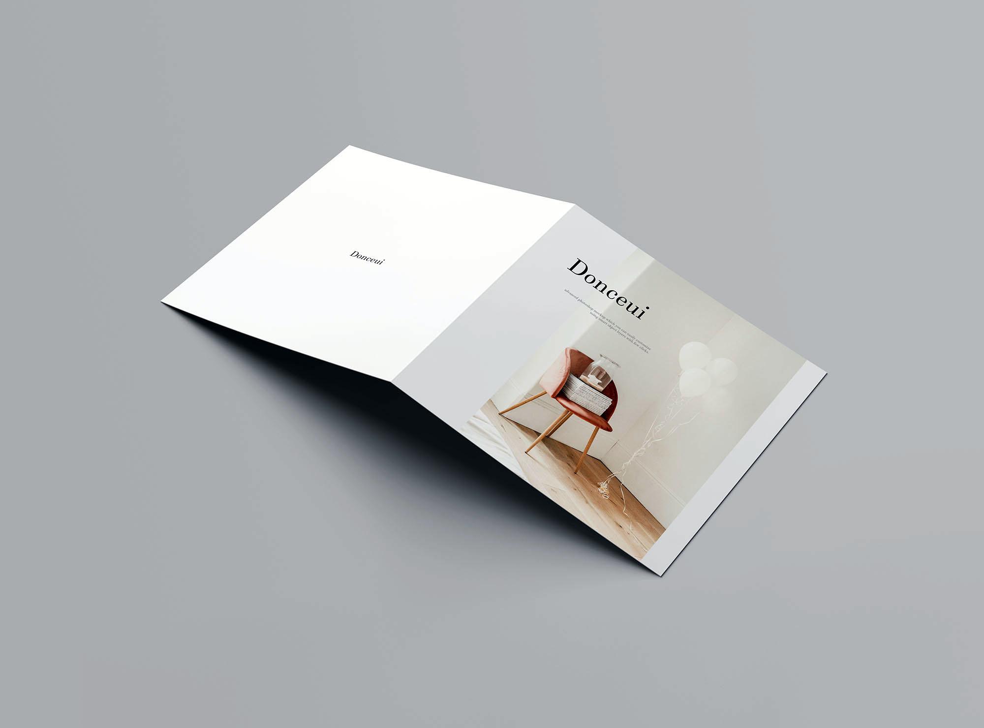 Square Bifold Brochure Mockup 5