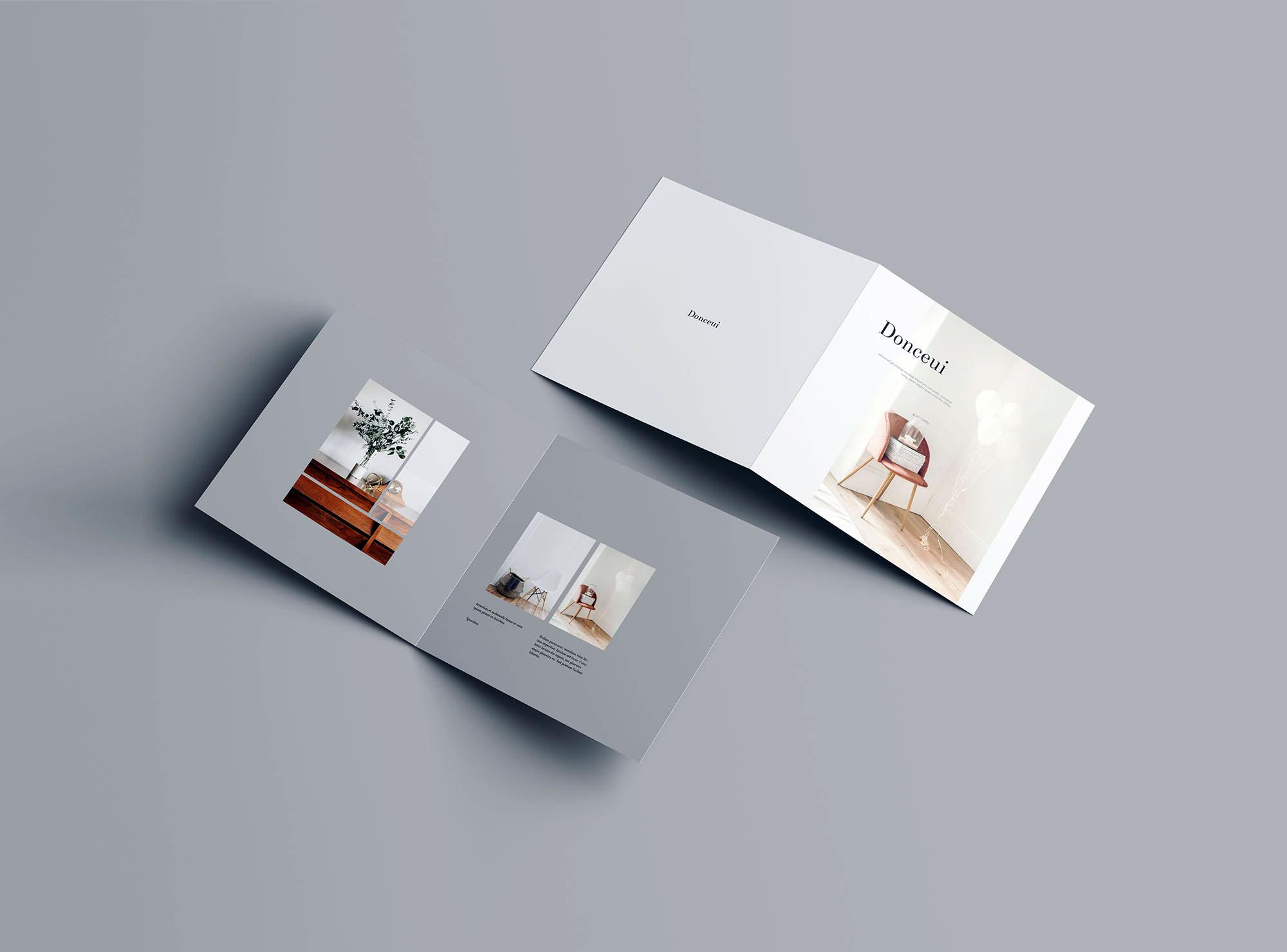 Square Bifold Brochure Mockup 6