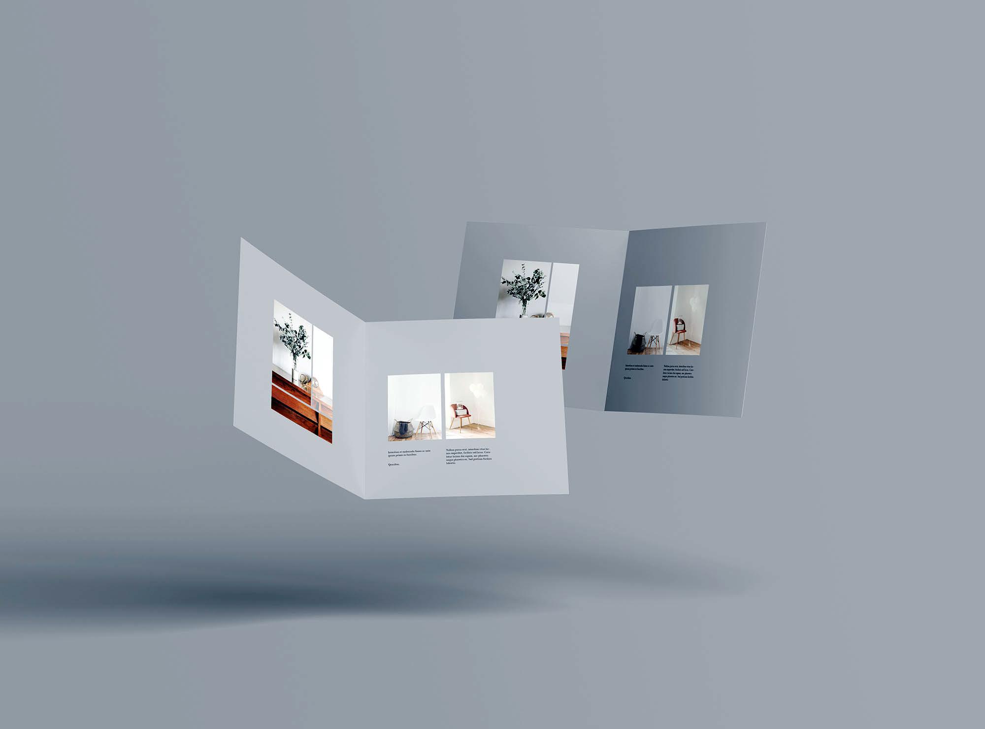 Square Bifold Brochure Mockup 7