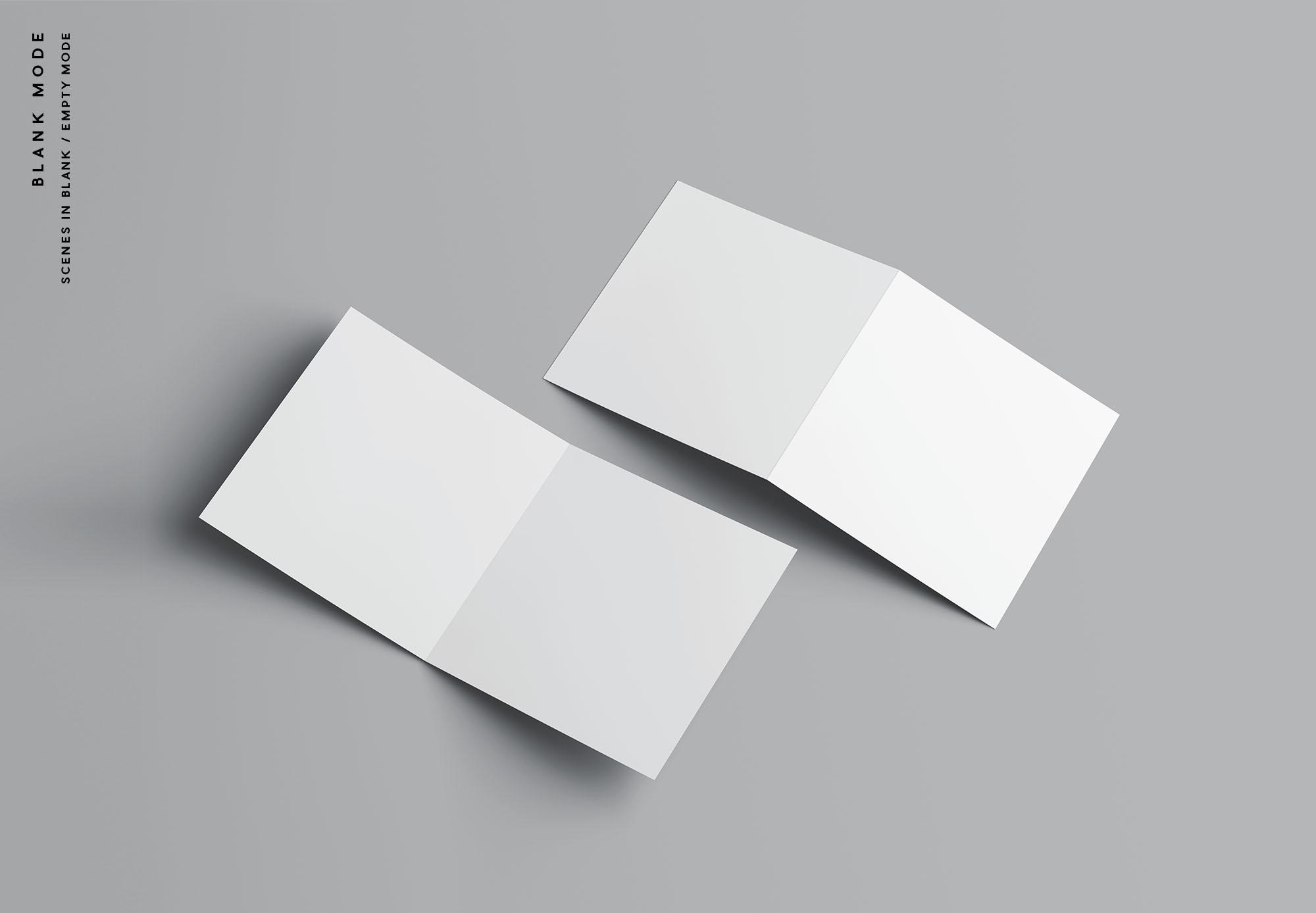 Square Bifold Brochure Mockup - Blank Mode
