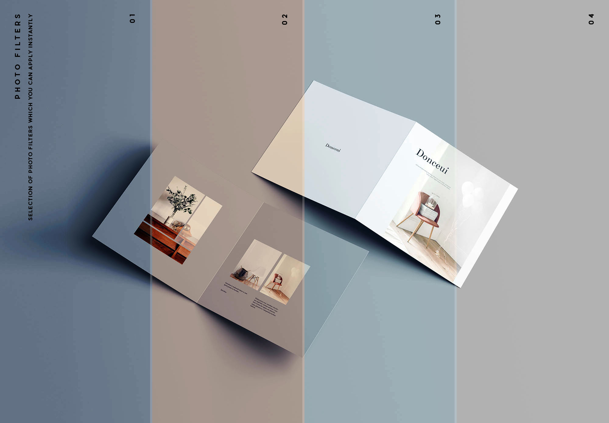Square Bifold Brochure Mockup Filters