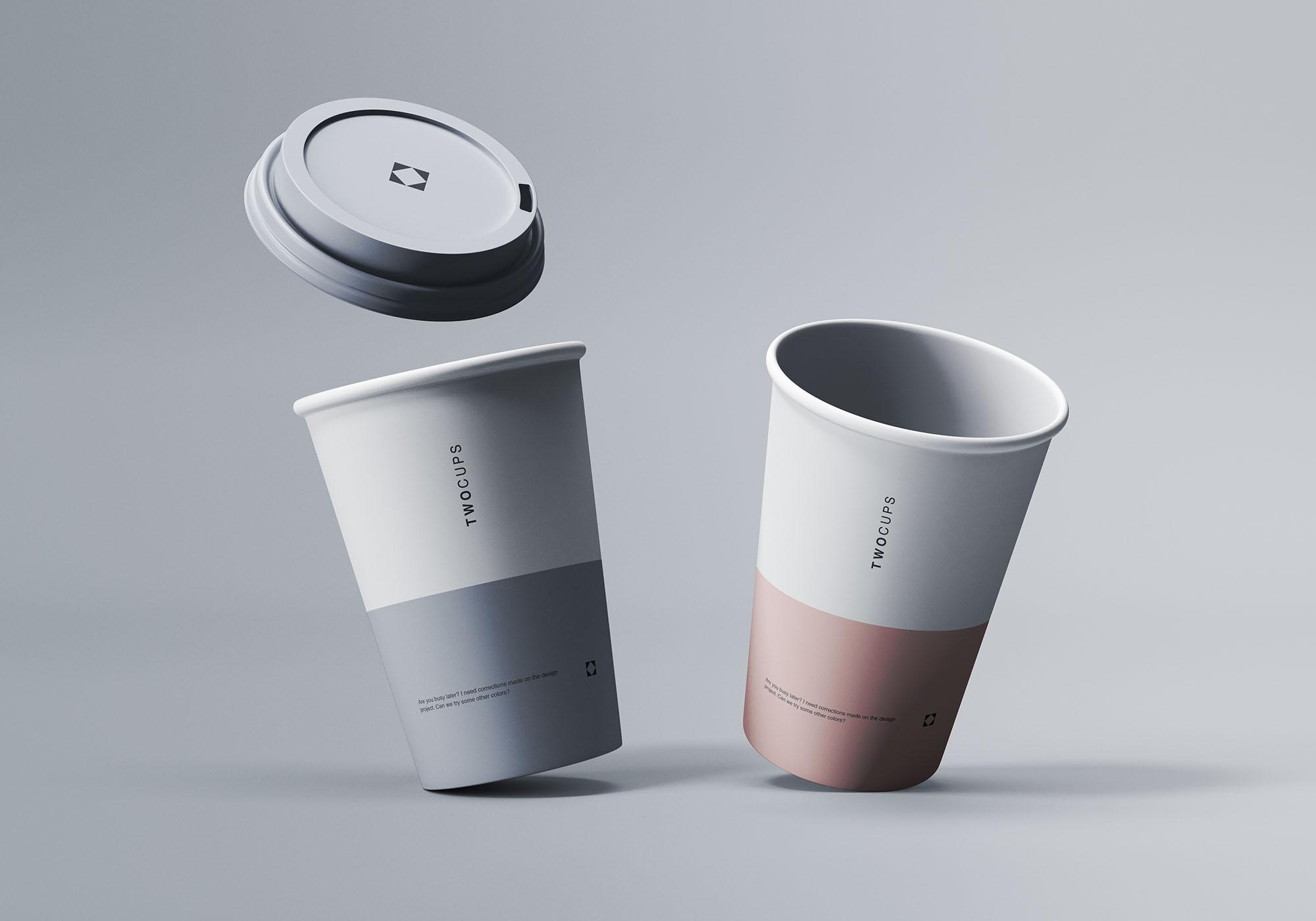 Two Coffee Cups Mockup 2