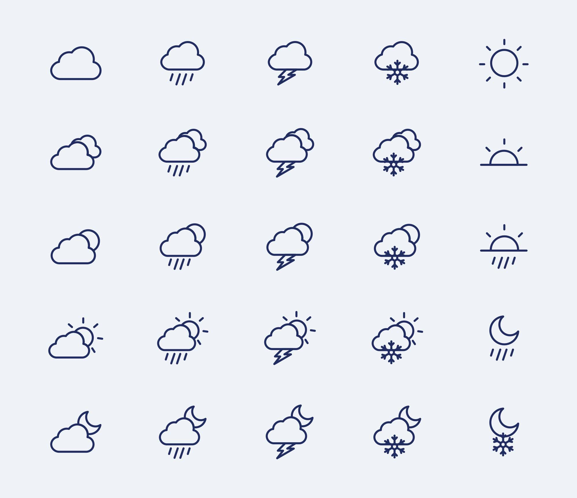 Weather Vector Icons Ai