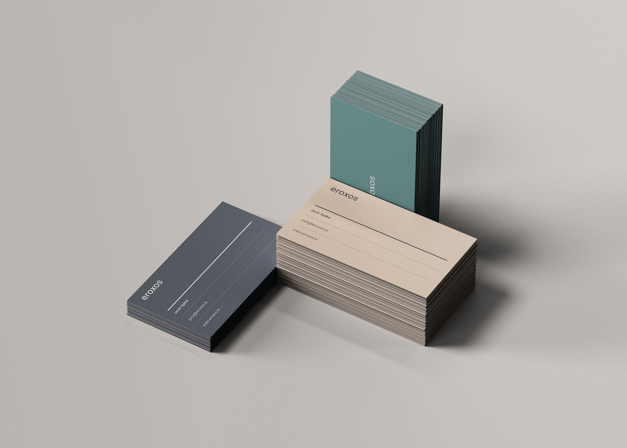 3 Business Card Stacks Mockup