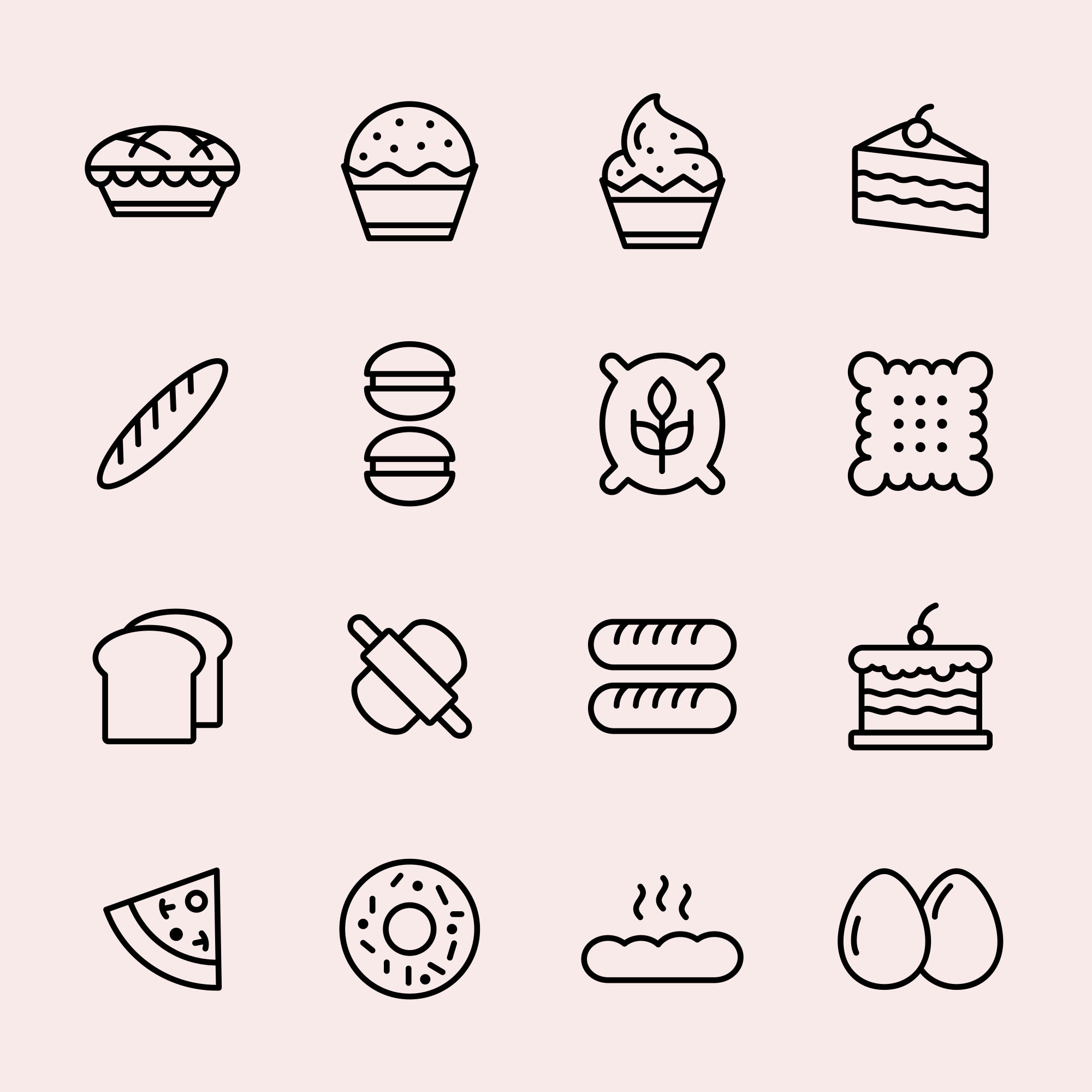 Bakery Products Vector Icons