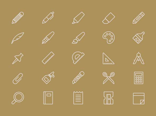 Stationery Vector Icons