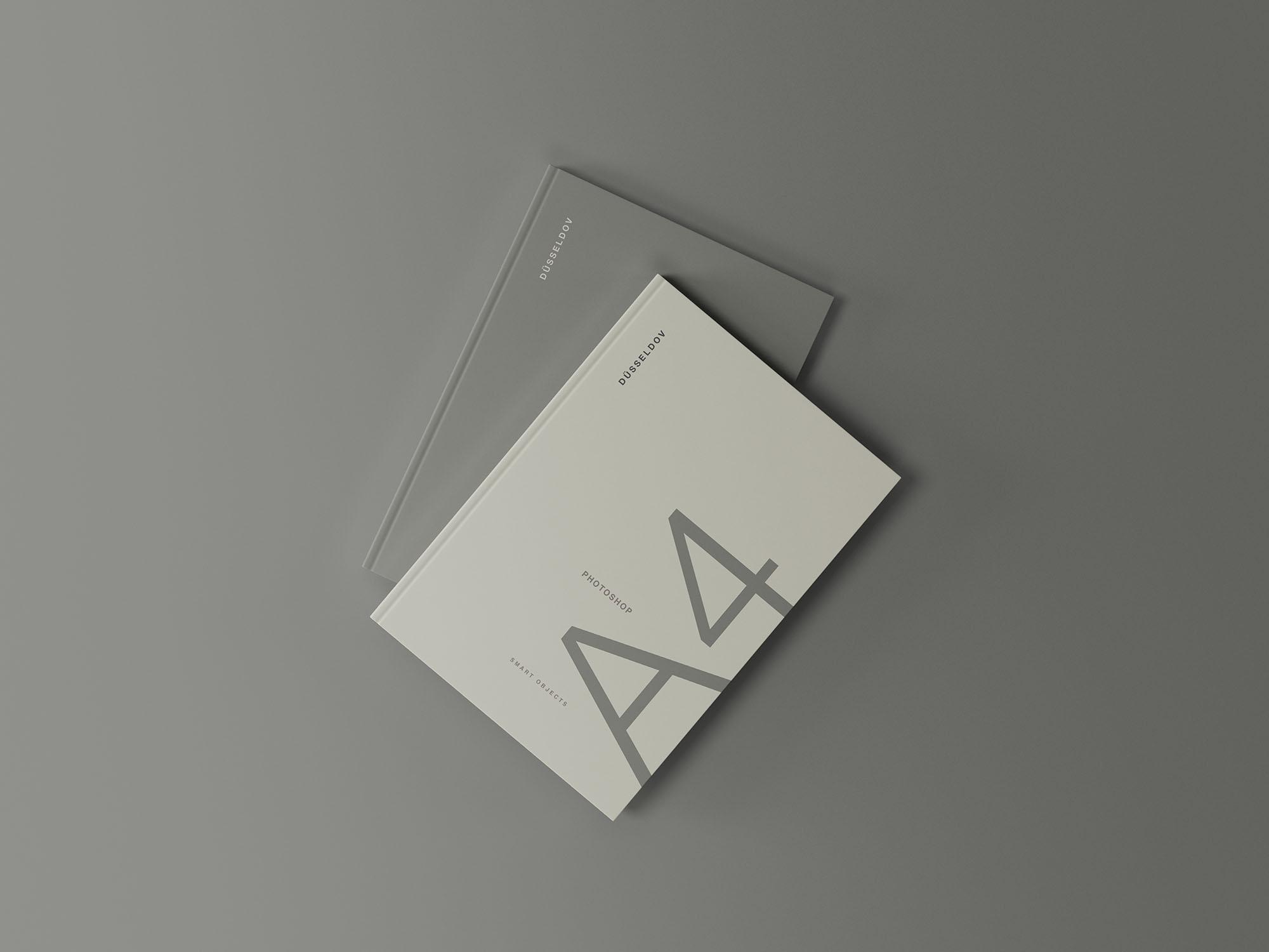 2 Hardcover Books Mockup