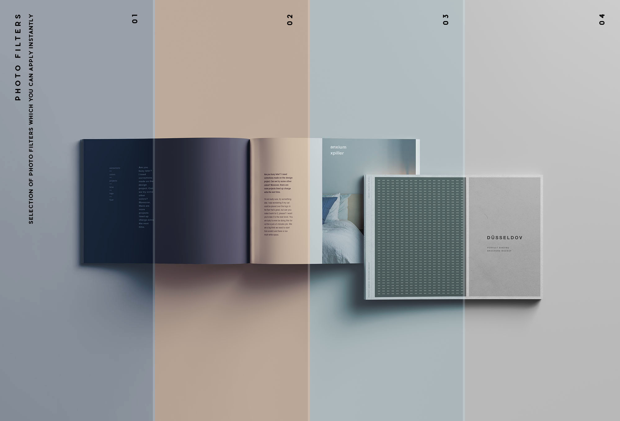 A4 Landscape Perfect Binding Brochure Mockup Filters