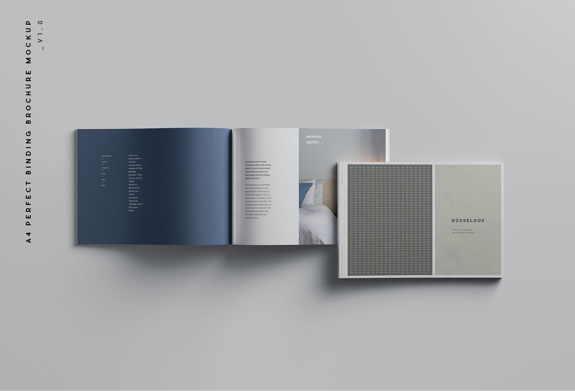 A4 Landscape Perfect Binding Brochure Mockup