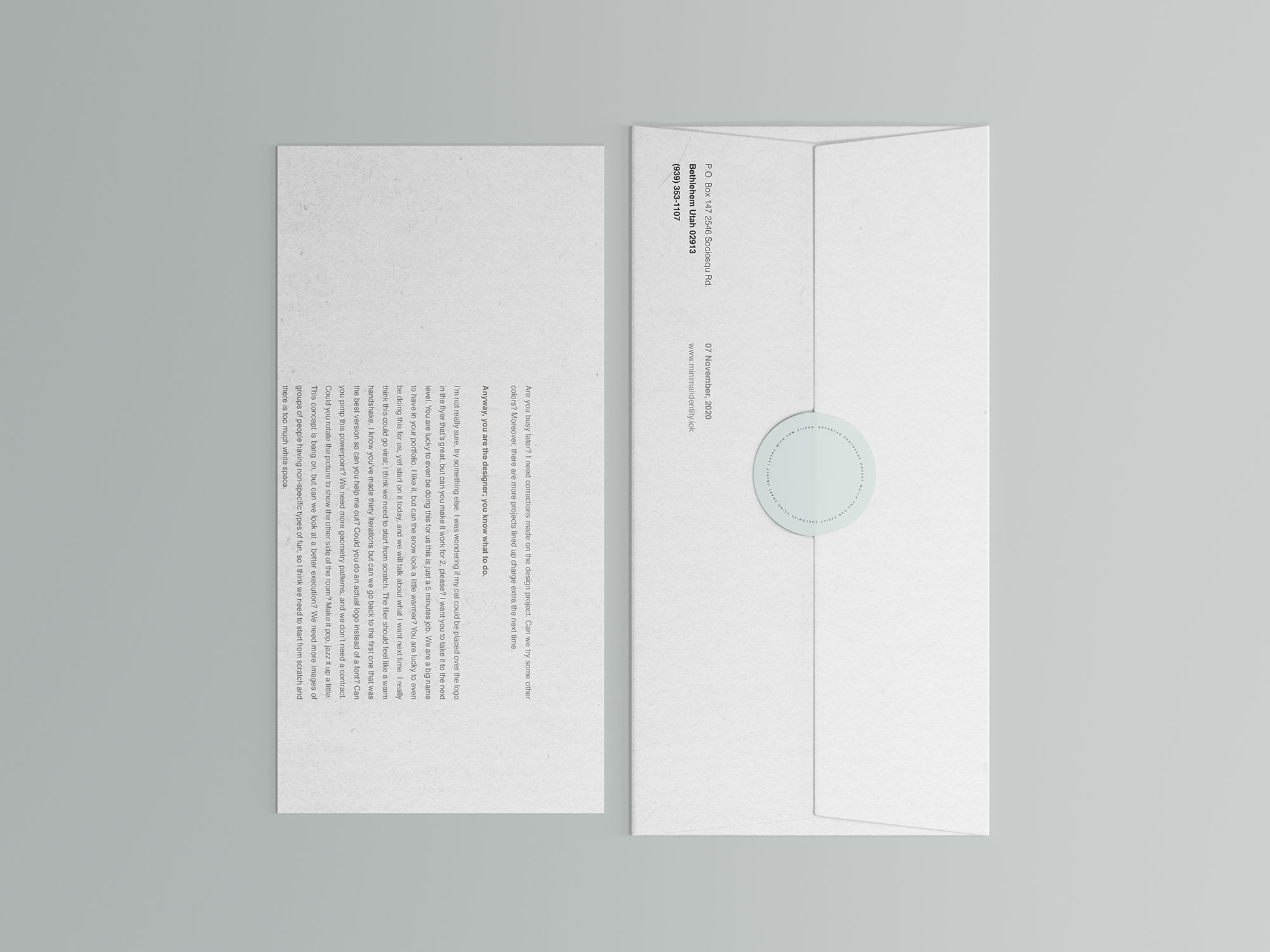 Corporate Envelope and Letter Mockup