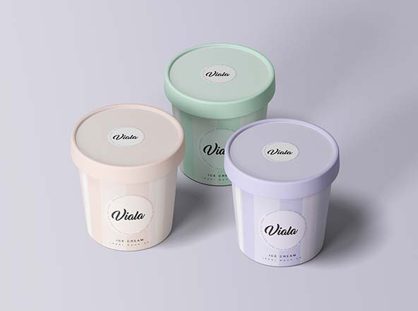 3 Ice Cream Cups Mockup