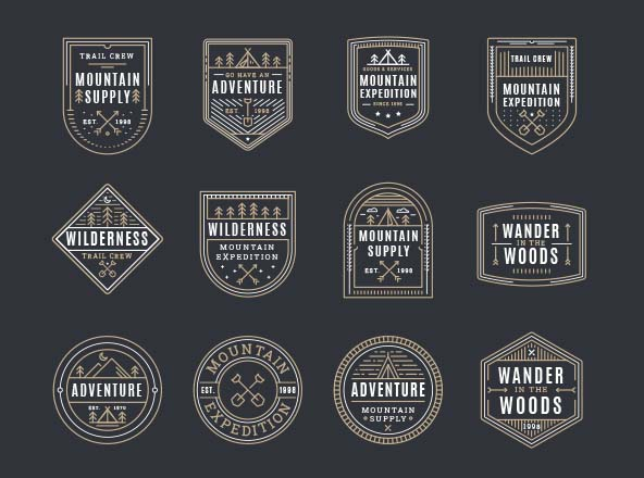 Mountain Adventure Vector Badges