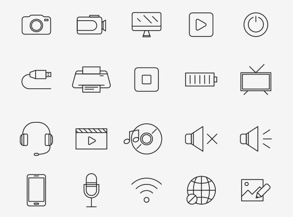 Multimedia Vector Icons