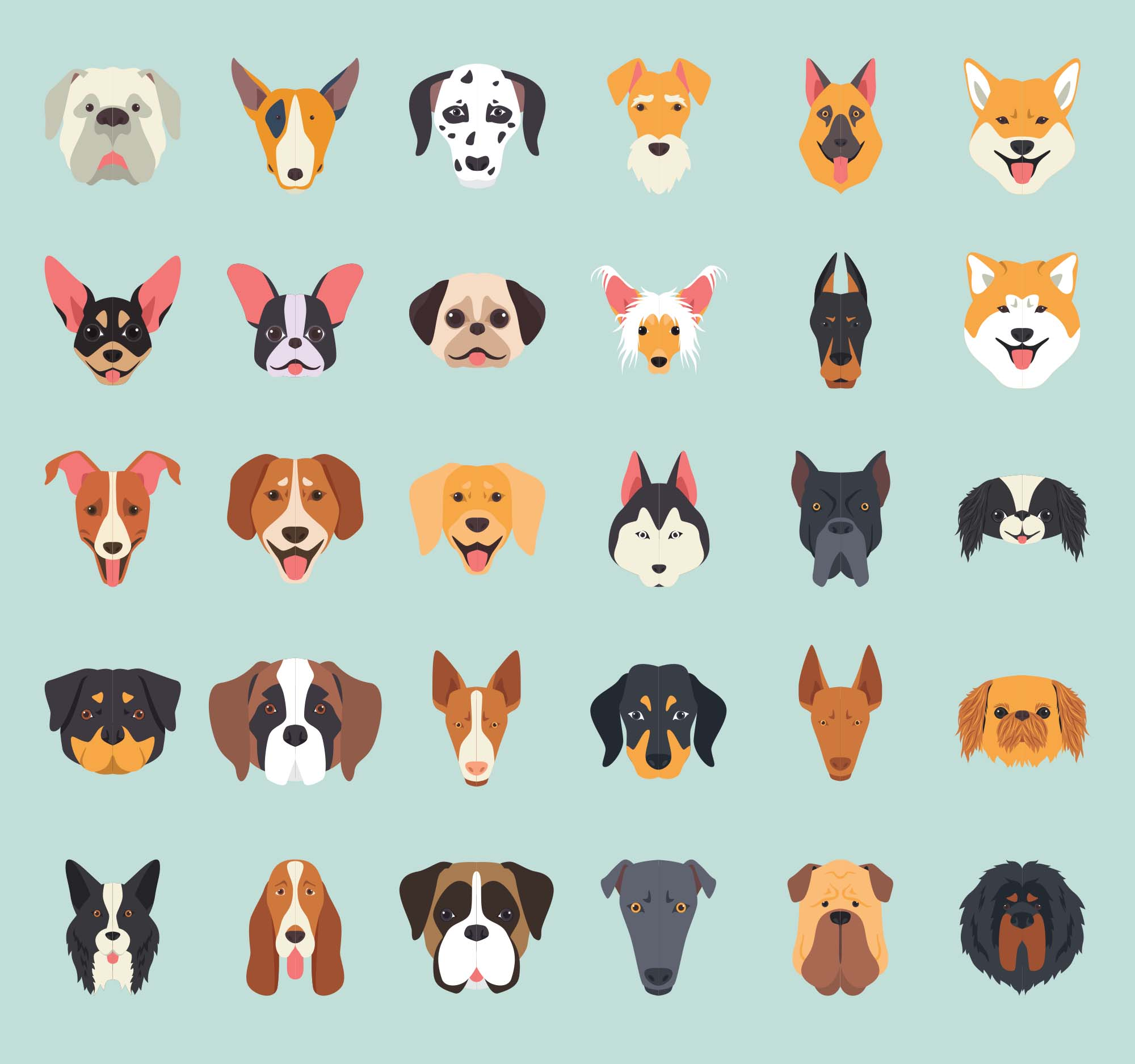 Dog Breeds Vector Illustration Icons