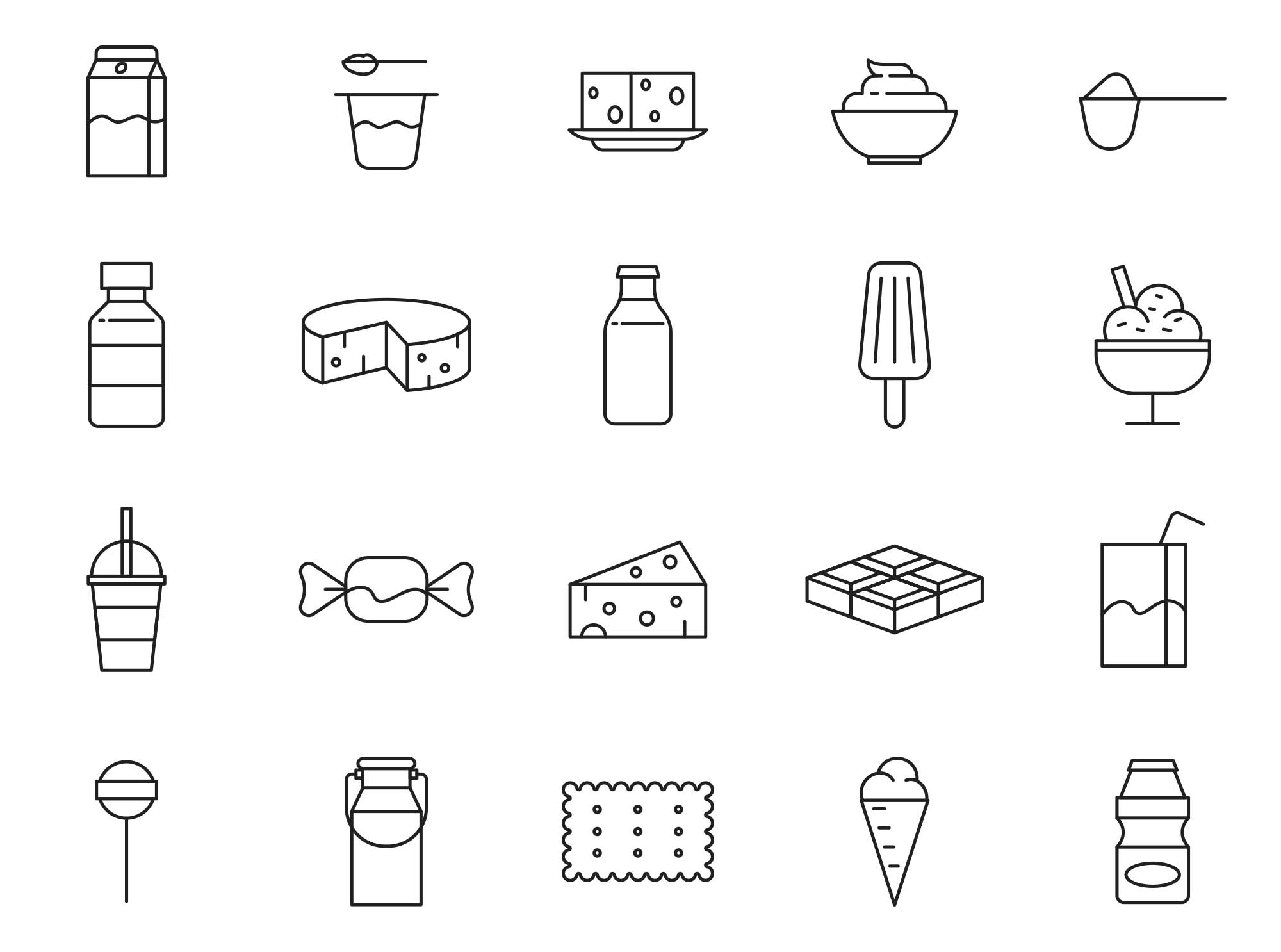 Dairy Products Vector Icons