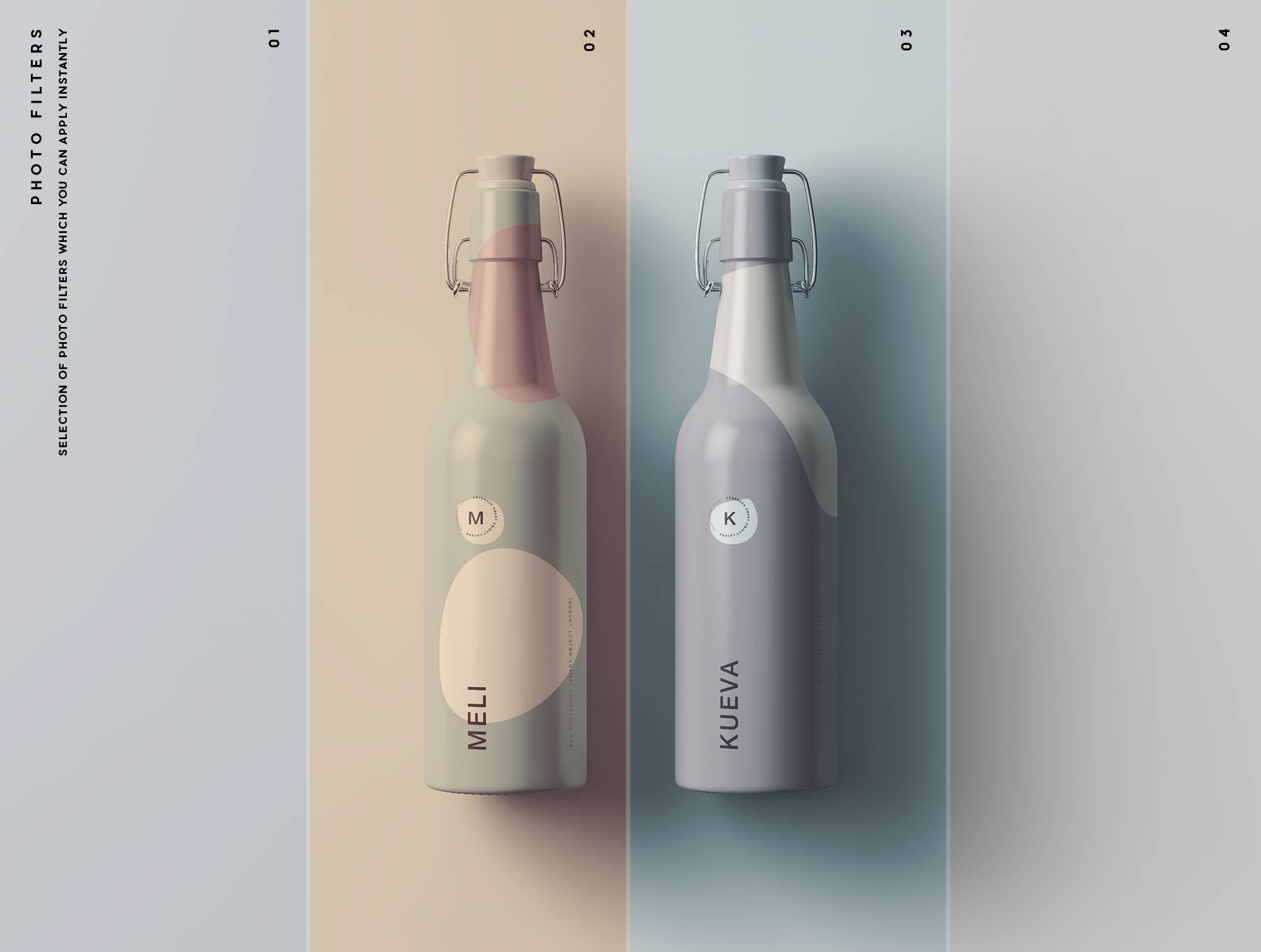 Matt Bottles Mockup Filters