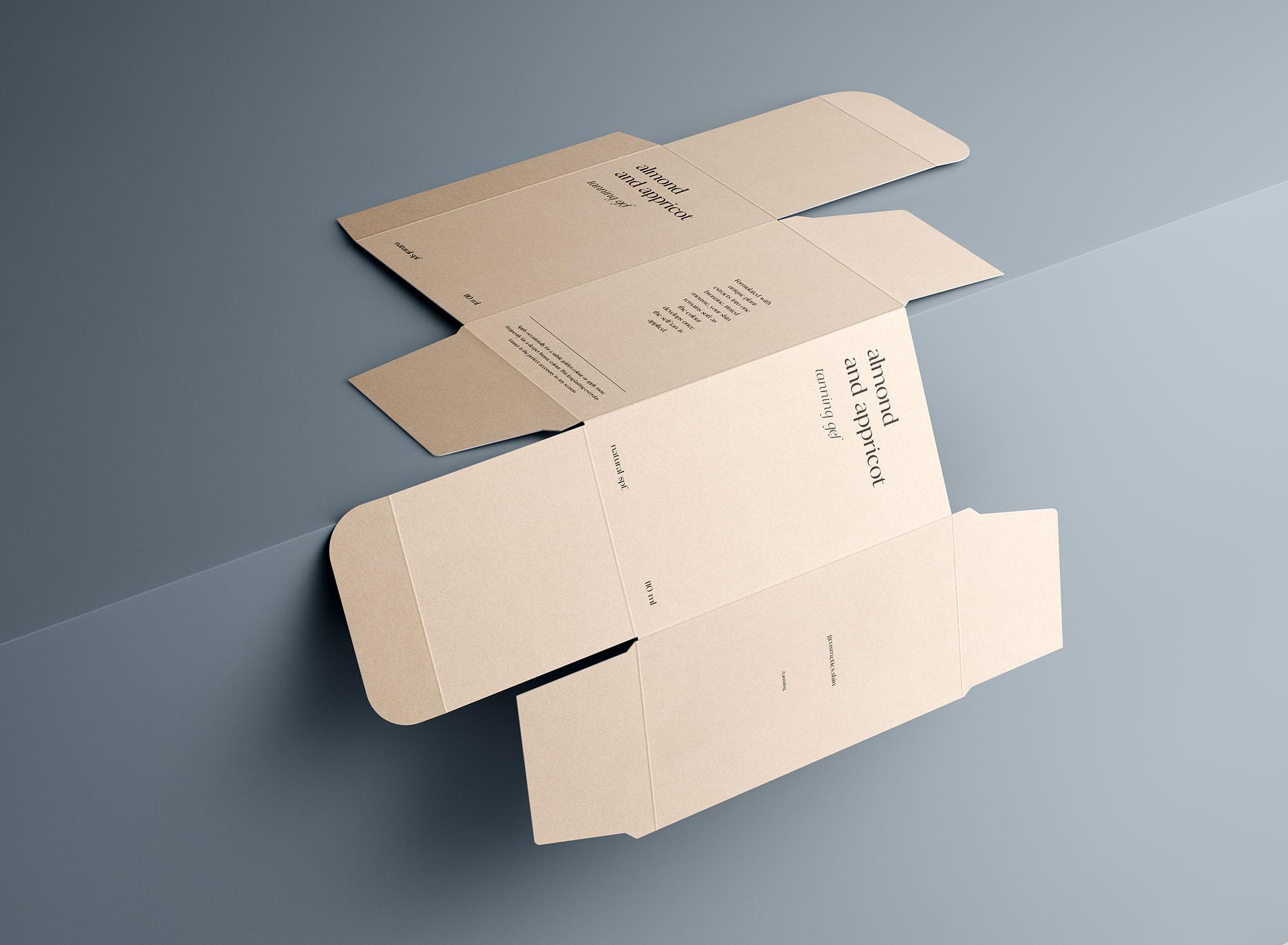 Unfolded Rectangle Box Mockup 8
