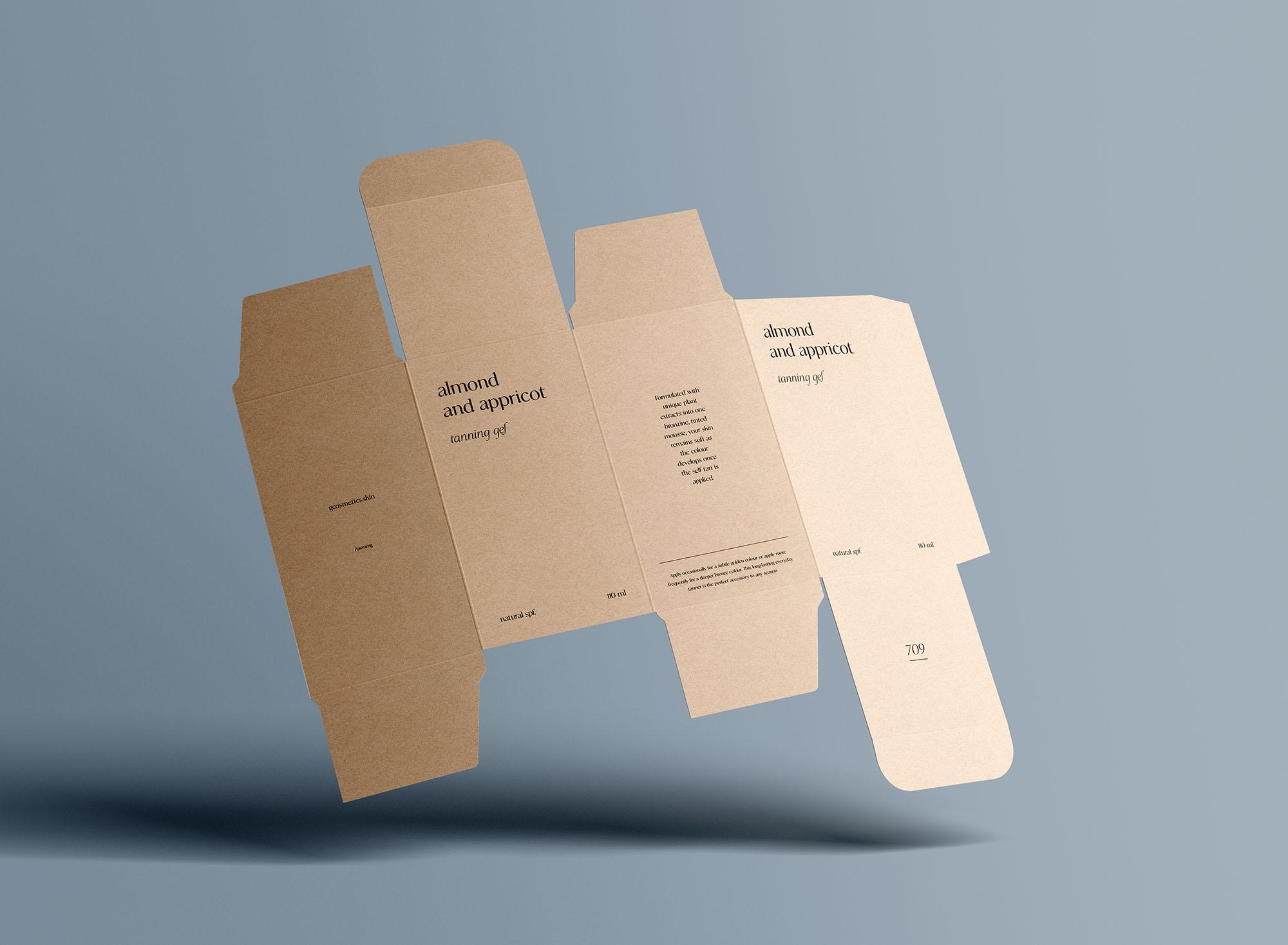 Unfolded Rectangle Box Mockup 7