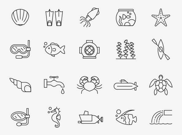 Aquatic Vector Icons
