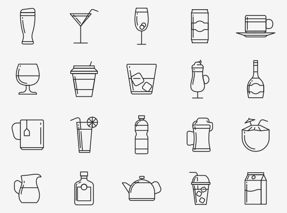 Beverages Vector Icons