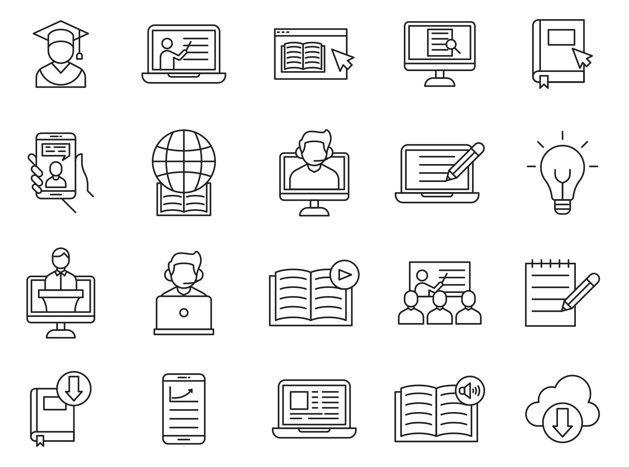 E-learning Vector Icons